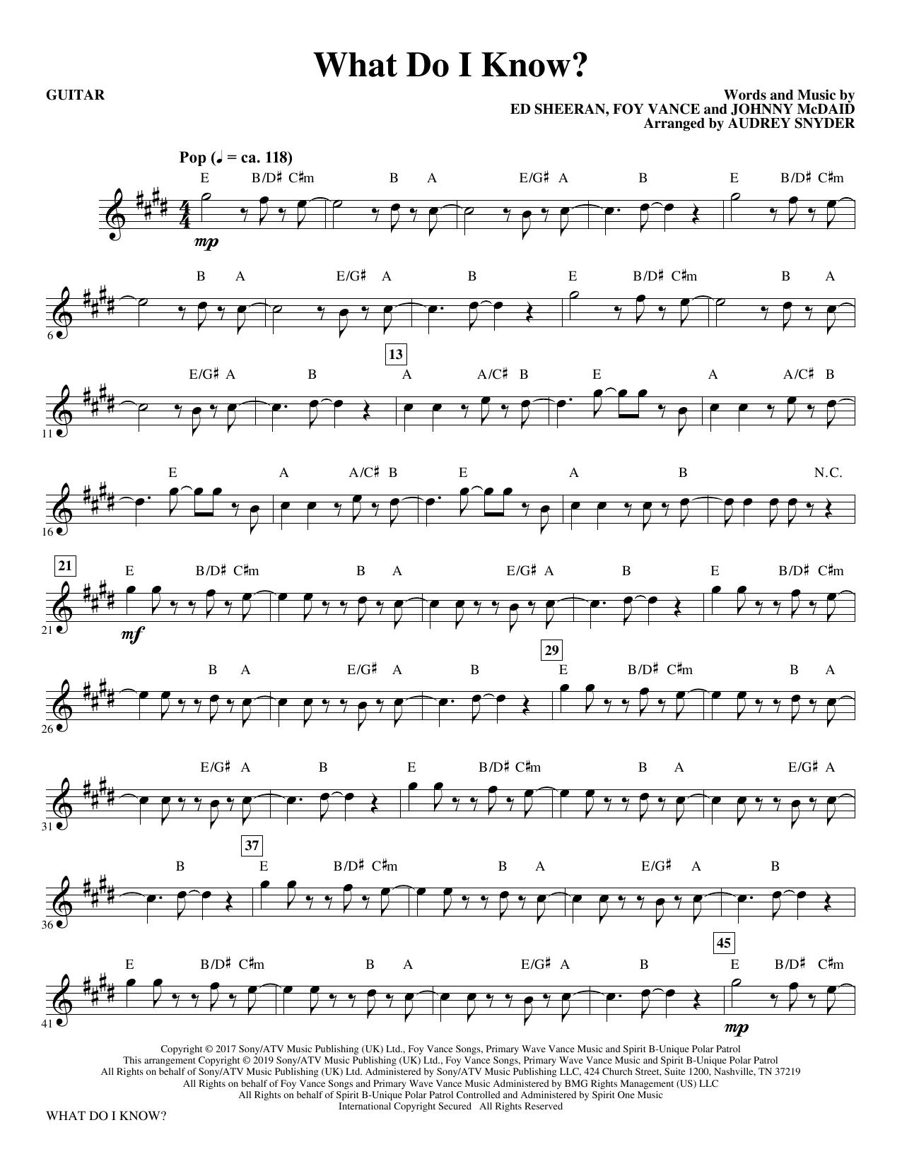What Do I Know? (arr. Audrey Snyder) - Guitar (Choir Instrumental Pak)