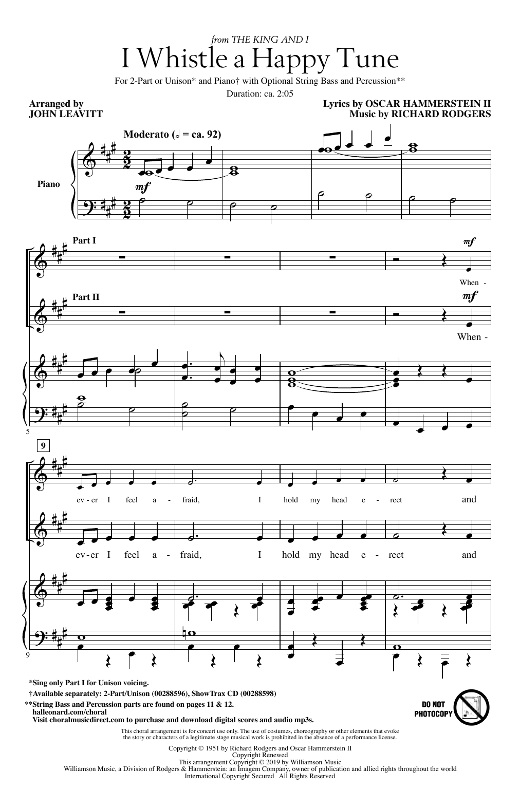 I Whistle A Happy Tune (from The King And I) (arr. John Leavitt) (2-Part Choir)
