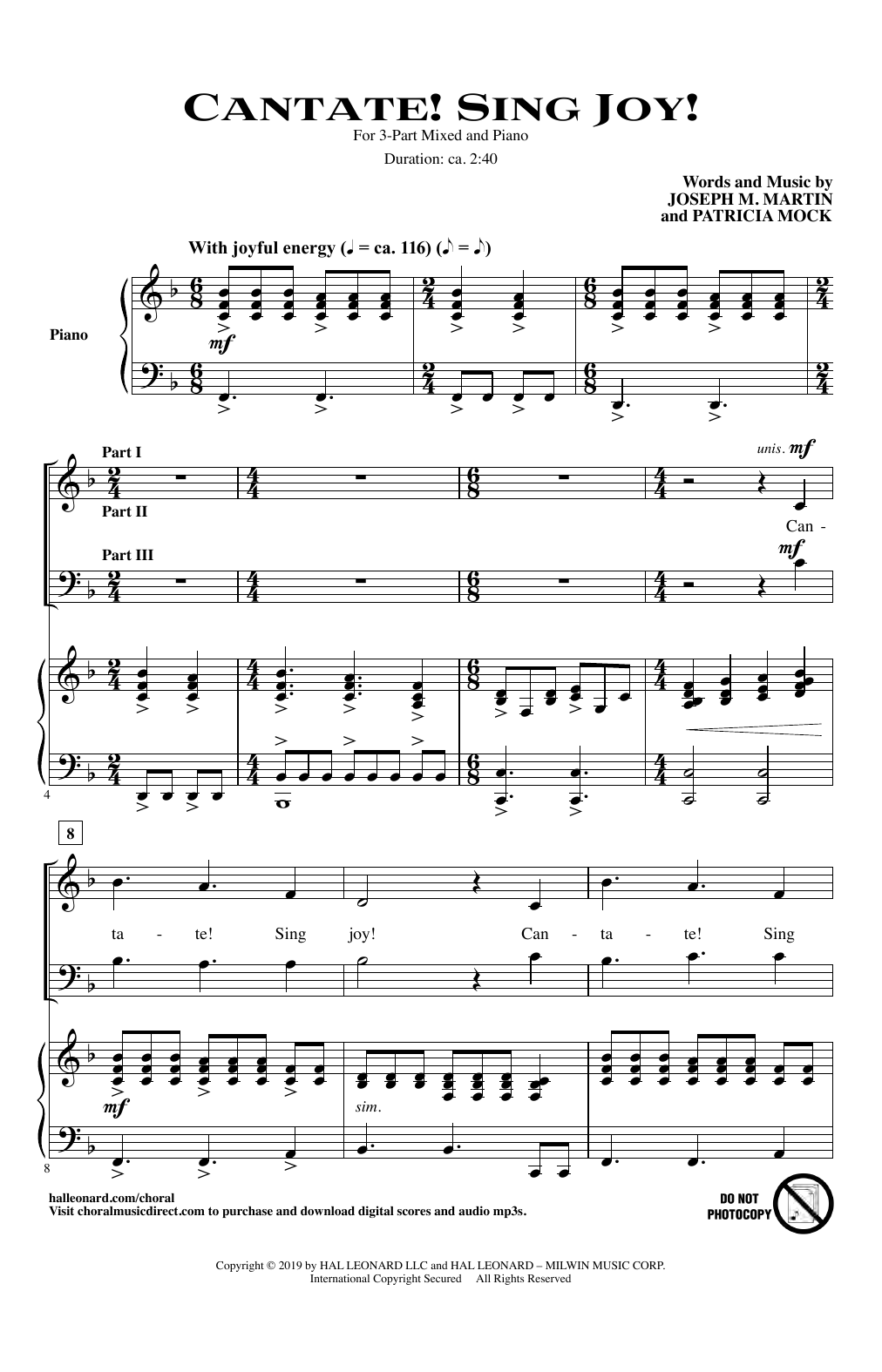 Cantate! Sing Joy! (3-Part Mixed Choir)