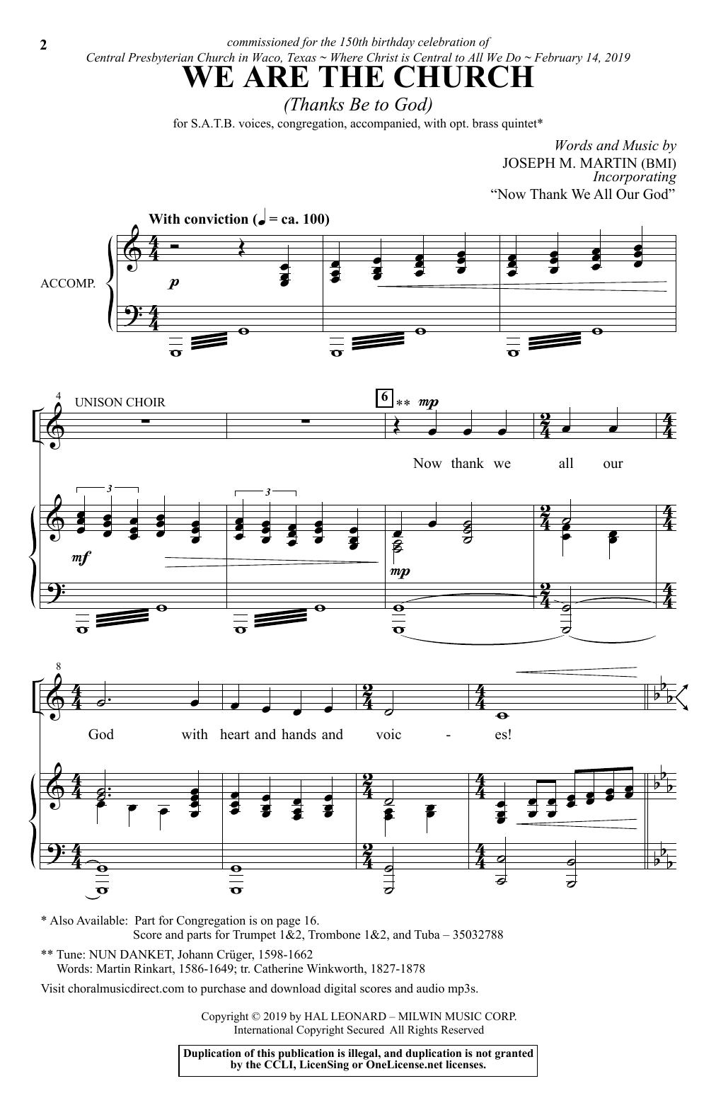 We Are The Church (Thanks Be To God) by Joseph M  Martin SATB Choir Digital  Sheet Music