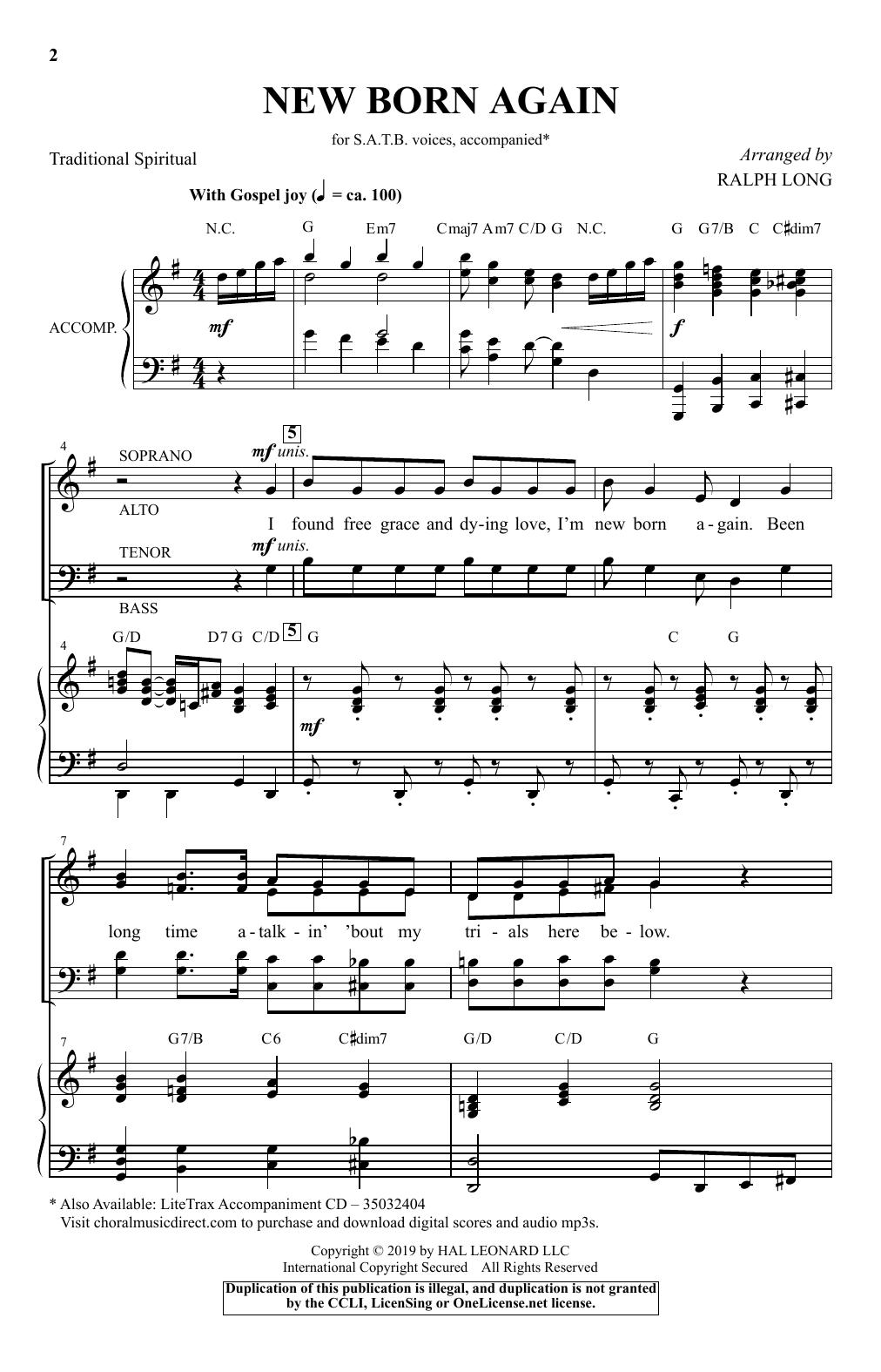 New Born Again (arr. Ralph Long) (SATB Choir)