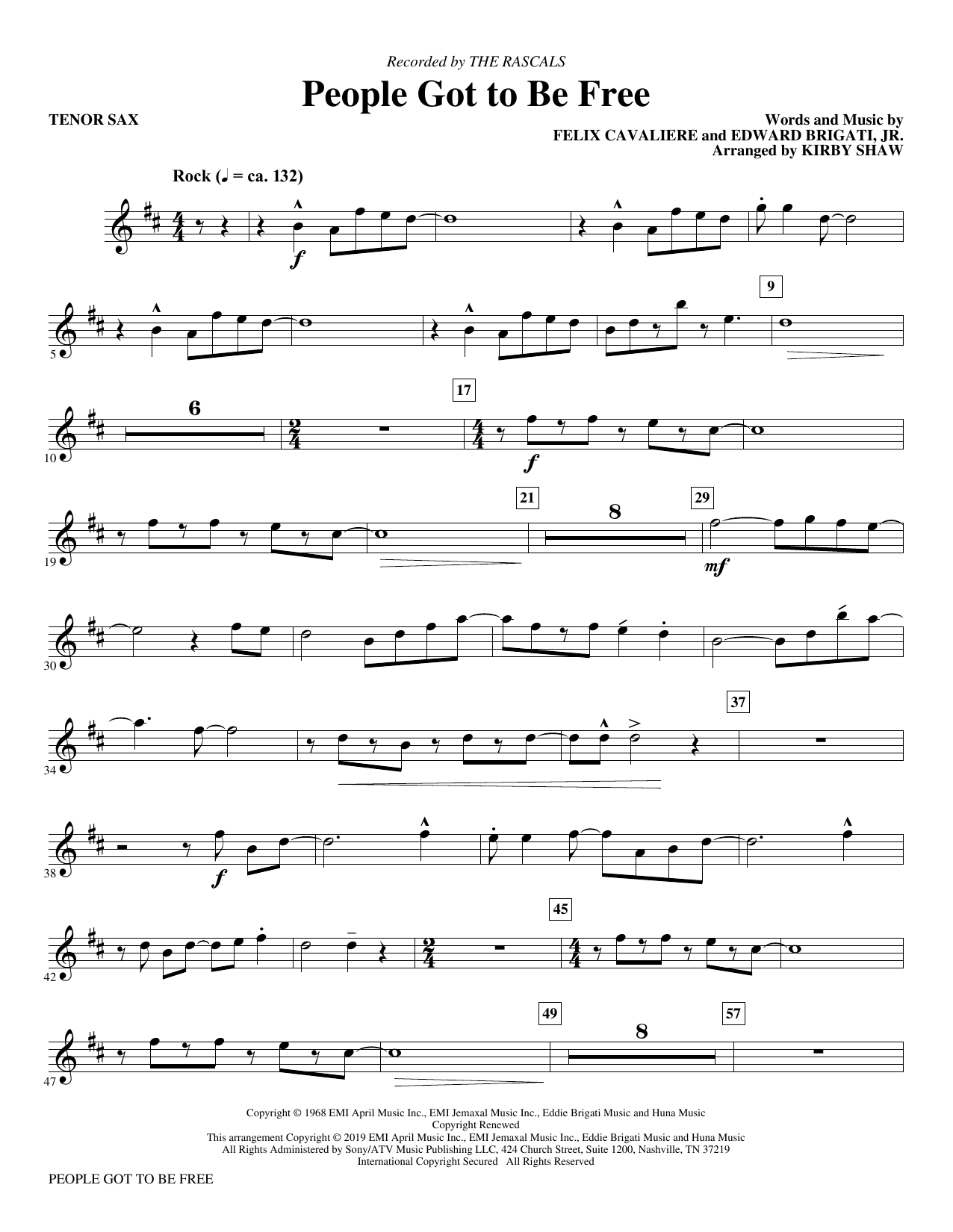 People Got to Be Free (arr. Kirby Shaw) - Bb Tenor Saxophone (Choir Instrumental Pak)