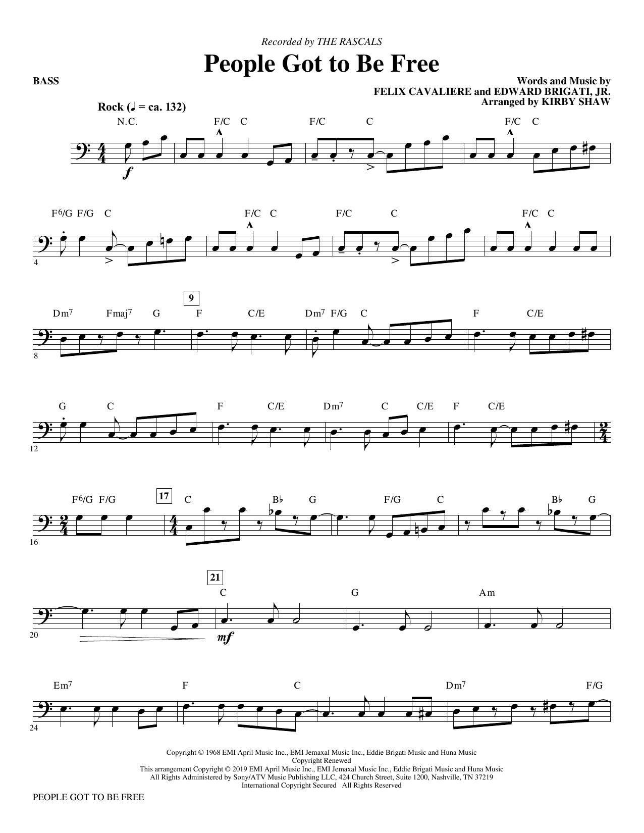 People Got to Be Free (arr. Kirby Shaw) - Bass (Choir Instrumental Pak)
