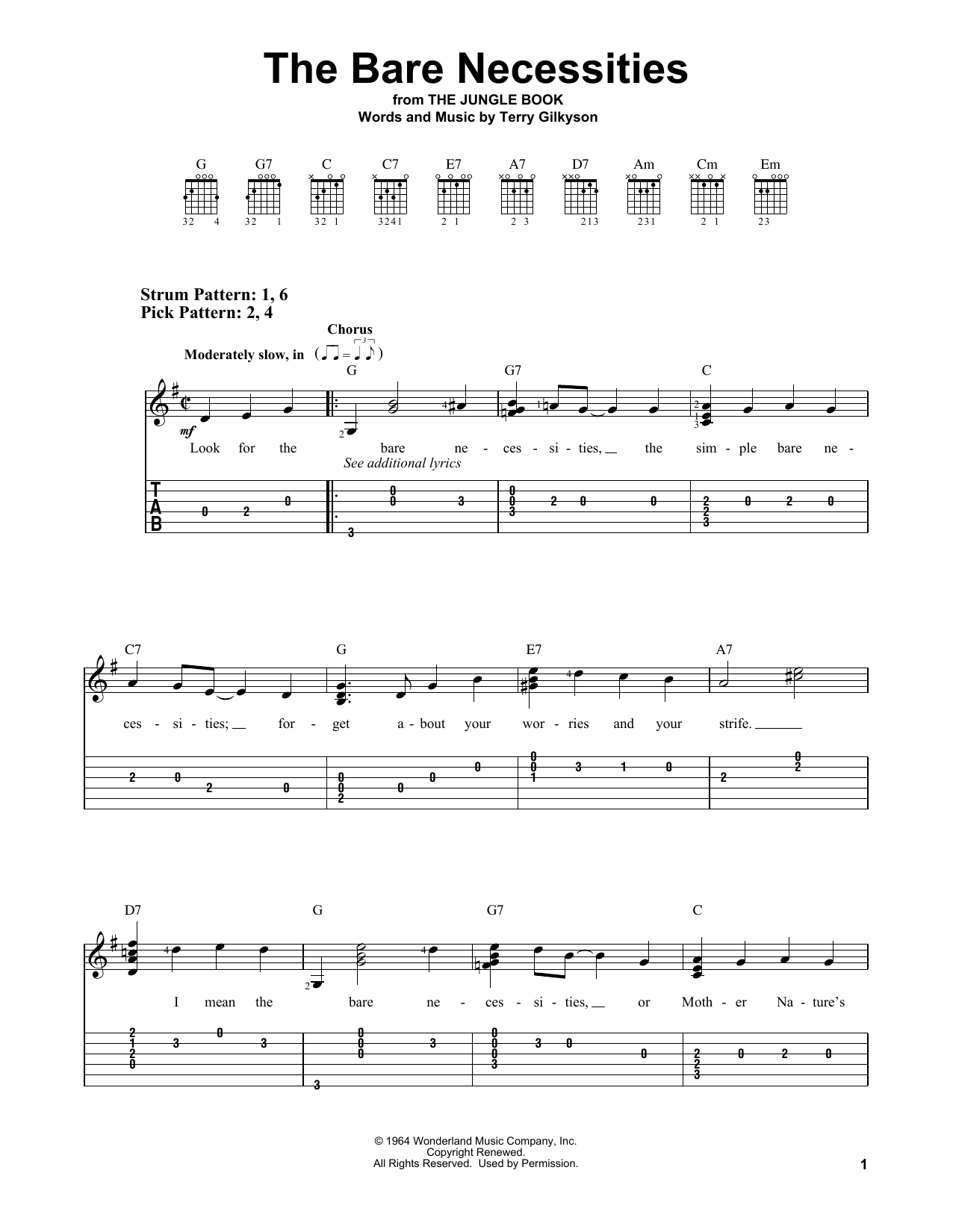 The Bare Necessities (from The Jungle Book) (Easy Guitar Tab)
