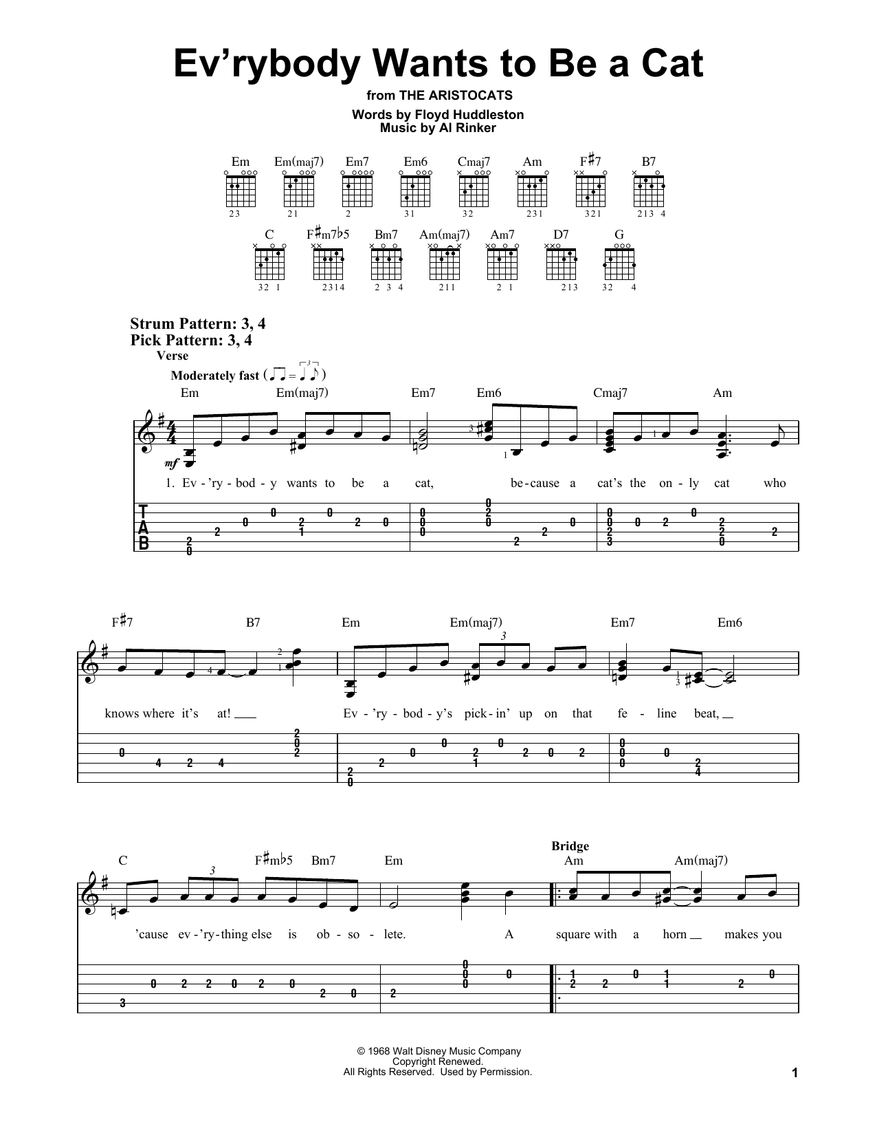 Ev'rybody Wants To Be A Cat (Easy Guitar Tab)