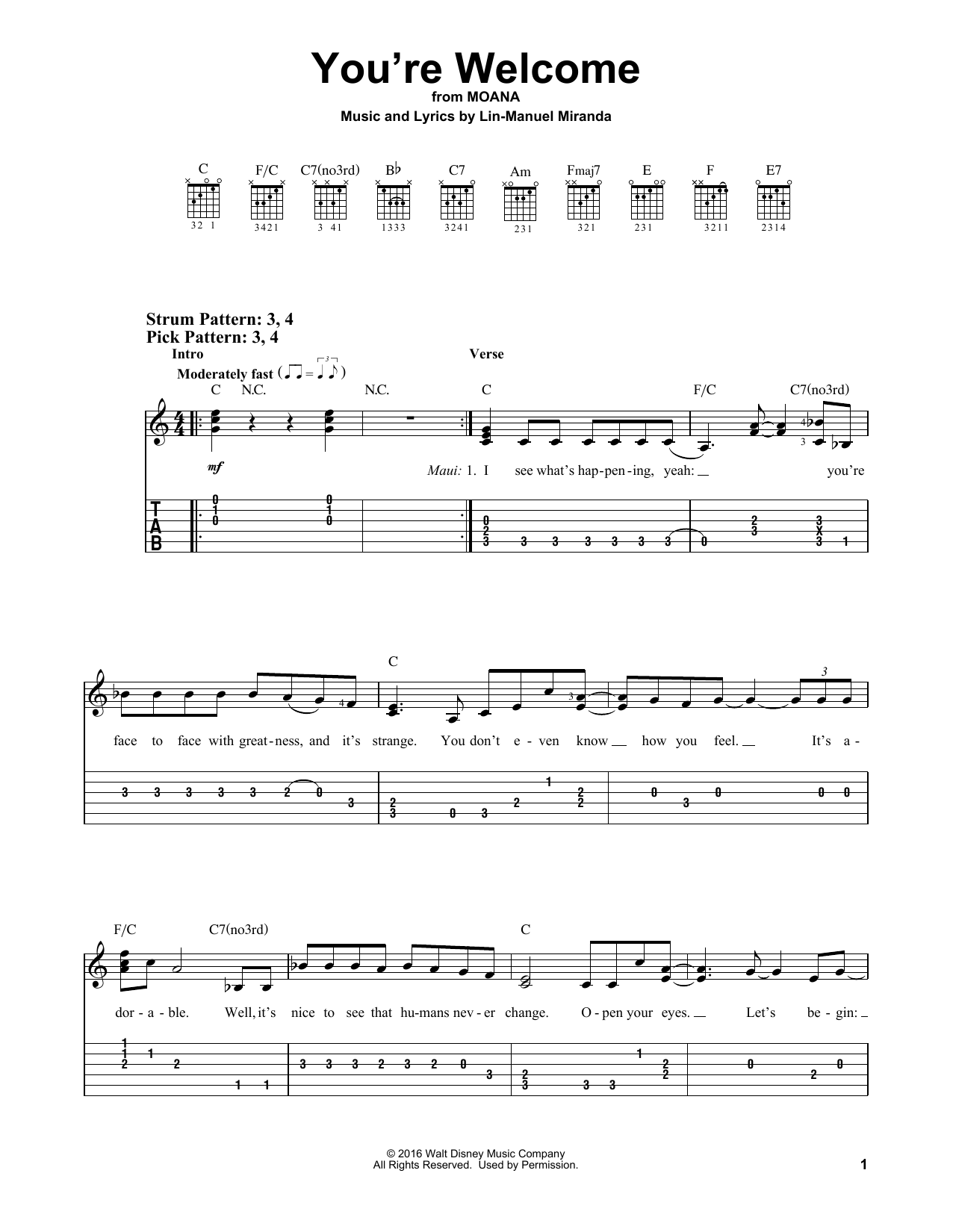 You're Welcome (from Moana) (Easy Guitar Tab)