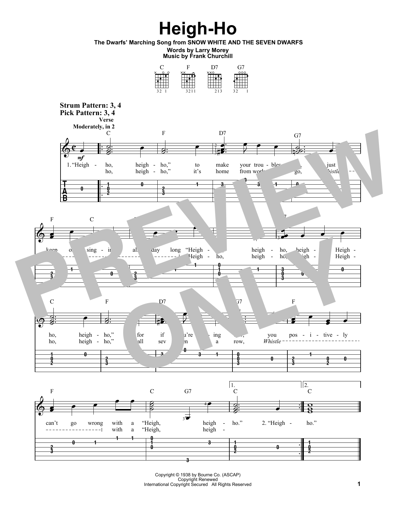 Heigh-Ho (from Walt Disney's Snow White and the Seven Dwarfs) (Easy Guitar Tab)