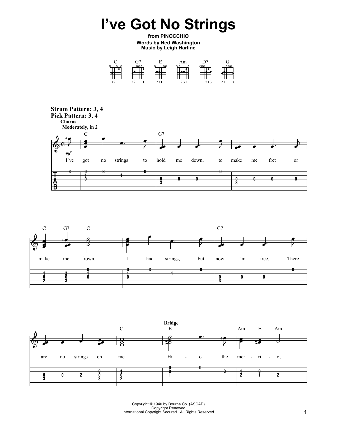 I've Got No Strings (from Walt Disney's Pinocchio) (Easy Guitar Tab)