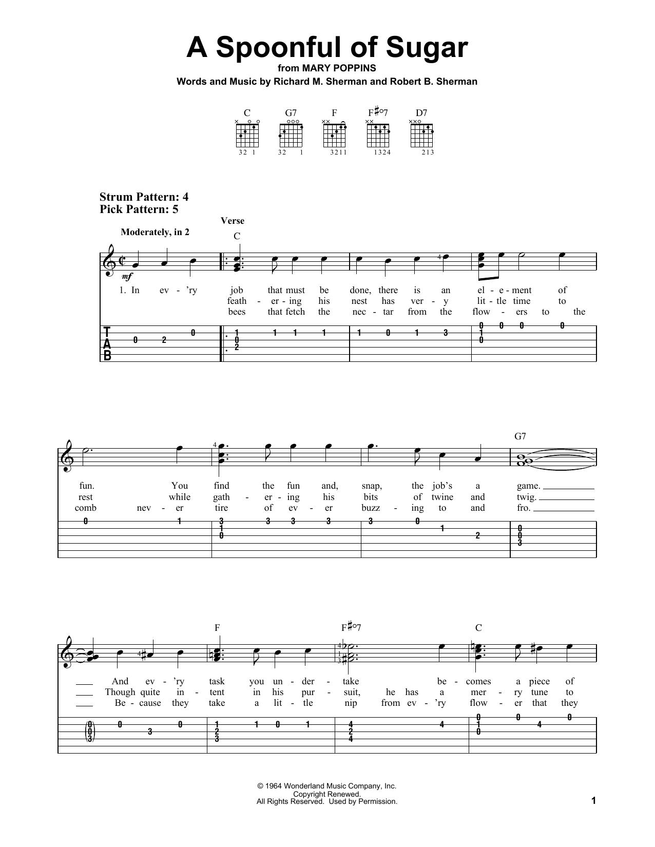 A Spoonful Of Sugar (Easy Guitar Tab)