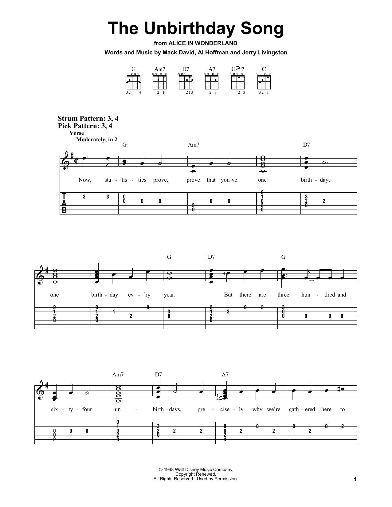 The Unbirthday Song (Easy Guitar Tab)
