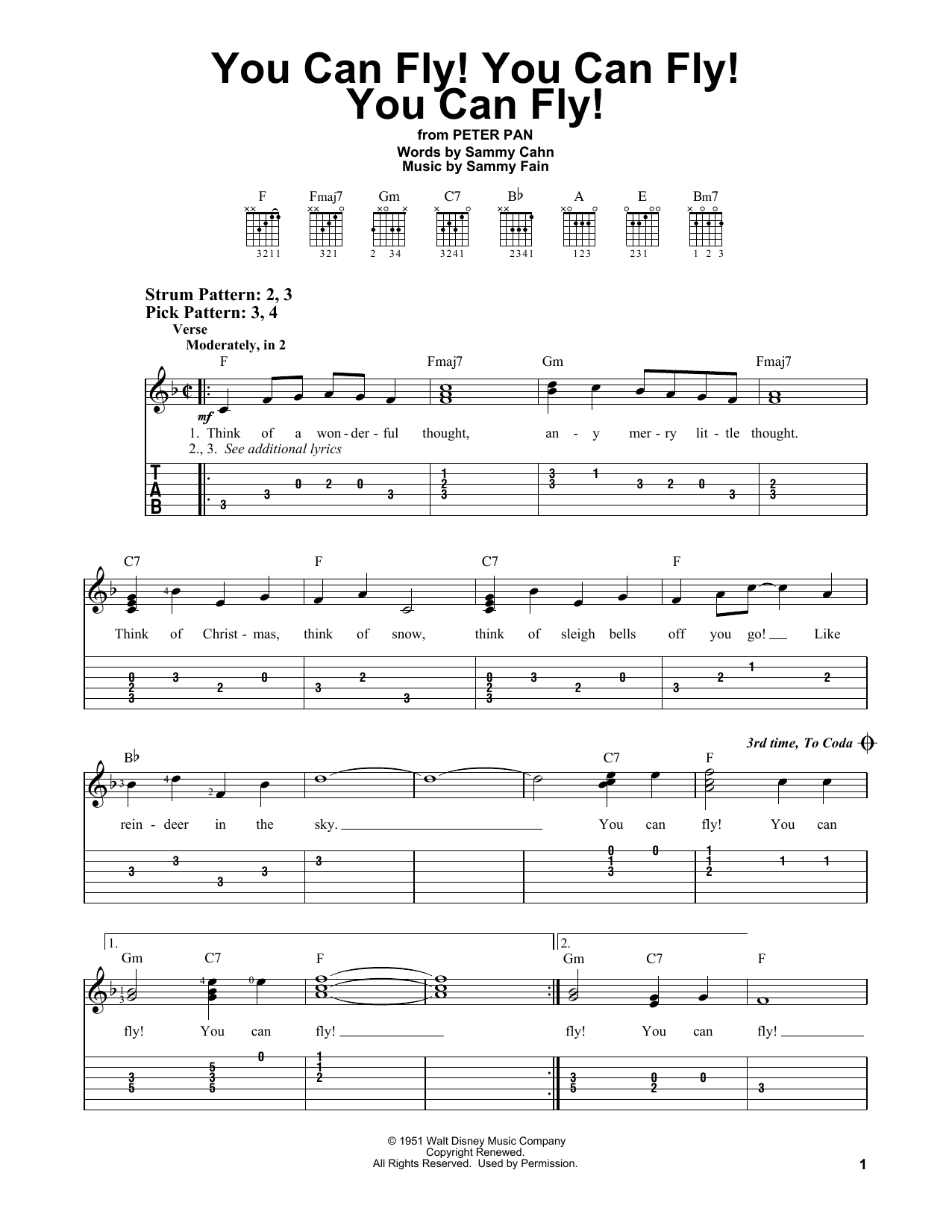 You Can Fly! You Can Fly! You Can Fly! (Easy Guitar Tab)