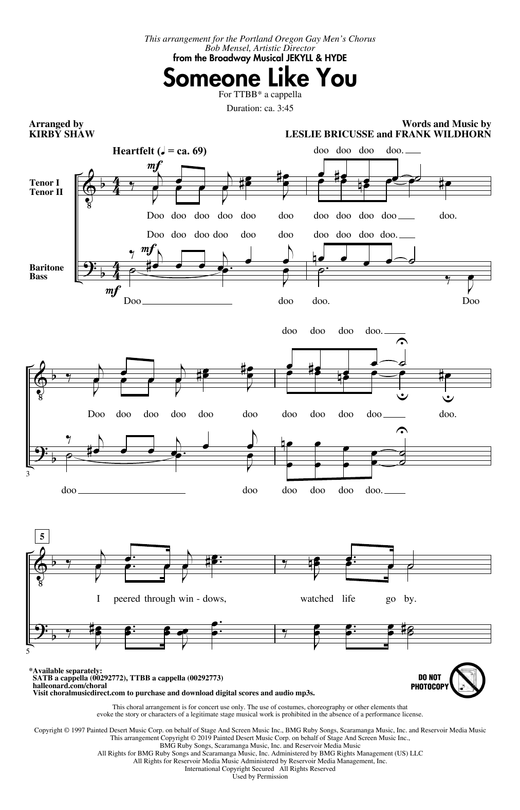 Someone Like You (from Jekyll & Hyde) (arr. Kirby Shaw) Sheet Music