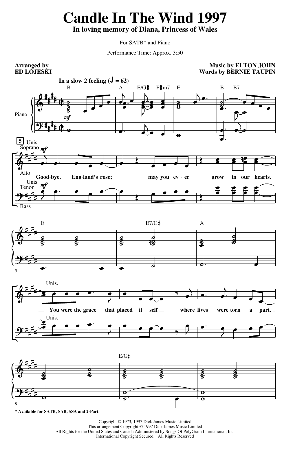 Candle In The Wind (arr. Ed Lojeski) (SATB Choir)