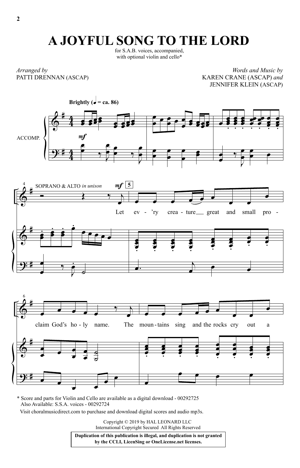 A Joyful Song To The Lord (arr. Patti Drennan) Partition Digitale
