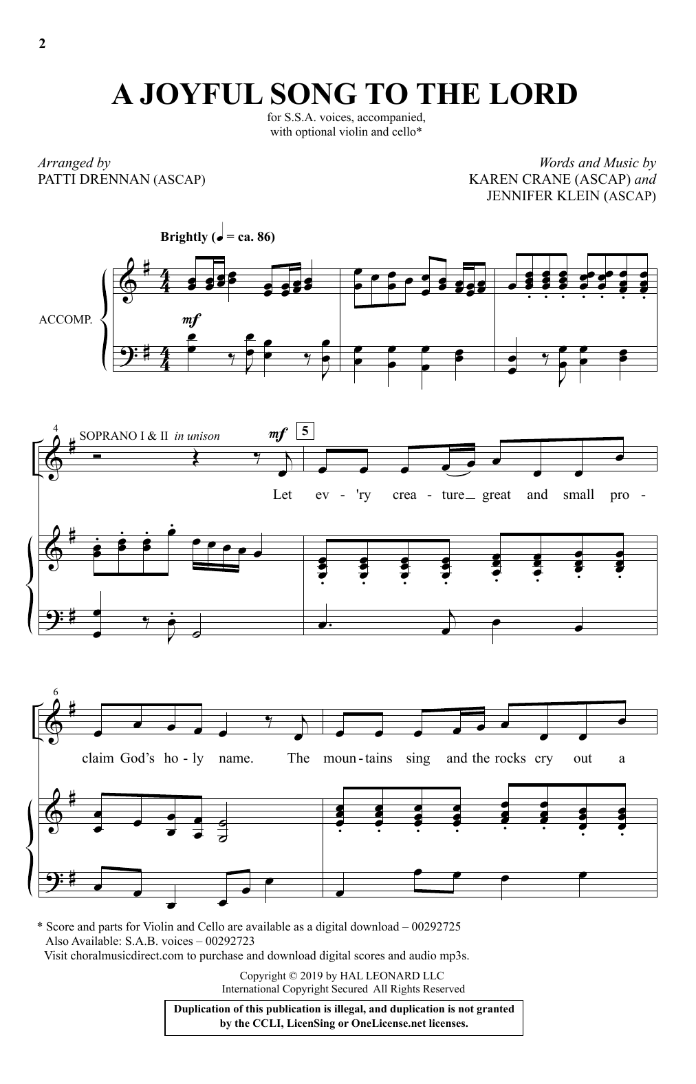 A Joyful Song To The Lord (arr. Patti Drennan) (SSA Choir)