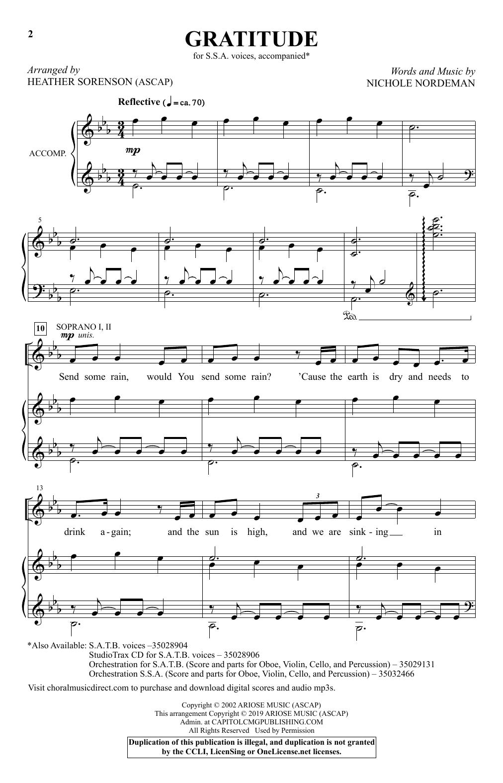 Gratitude (arr. Heather Sorenson) (SSA Choir)