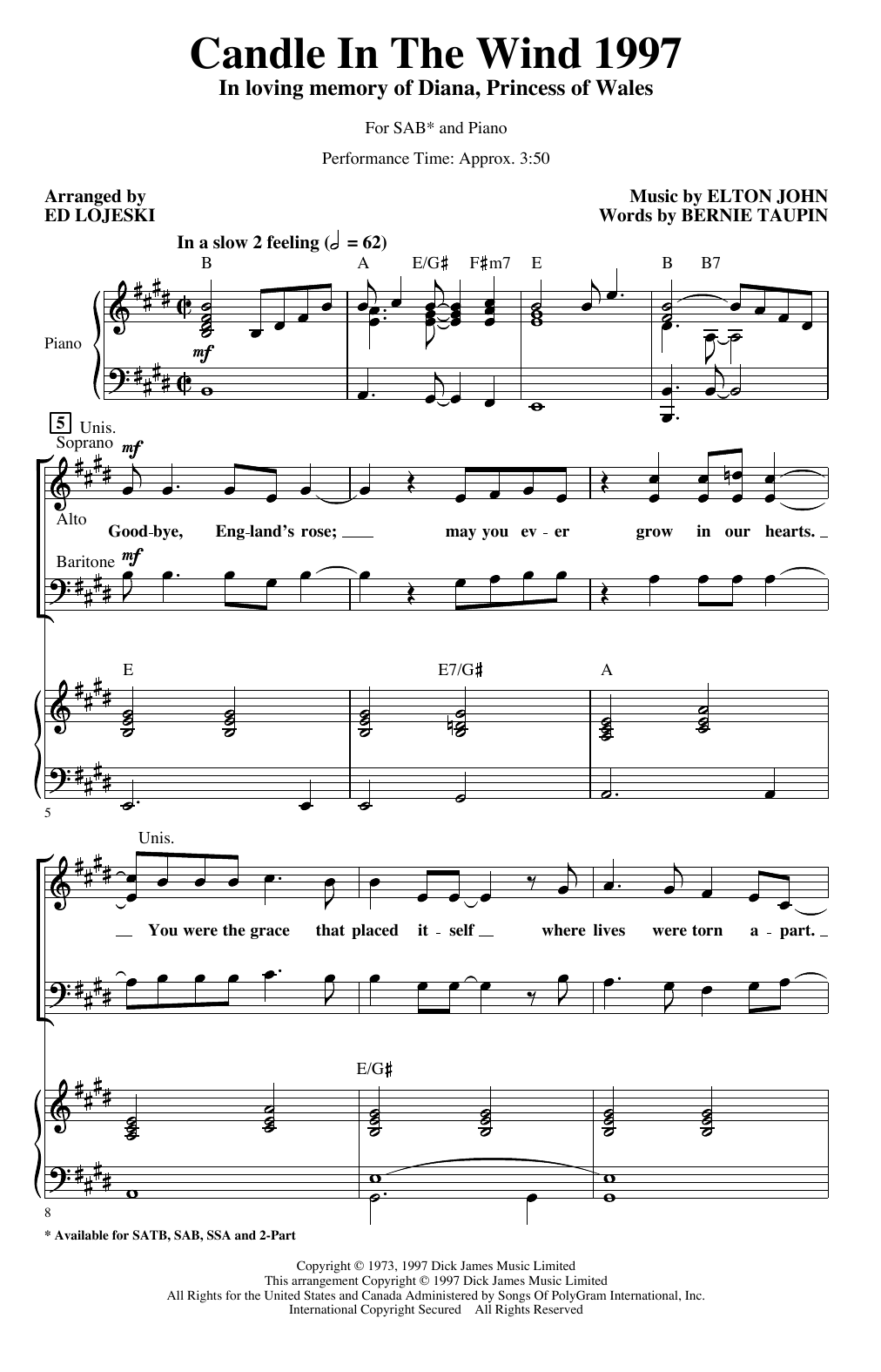 Candle In The Wind (arr. Ed Lojeski) (SAB Choir)