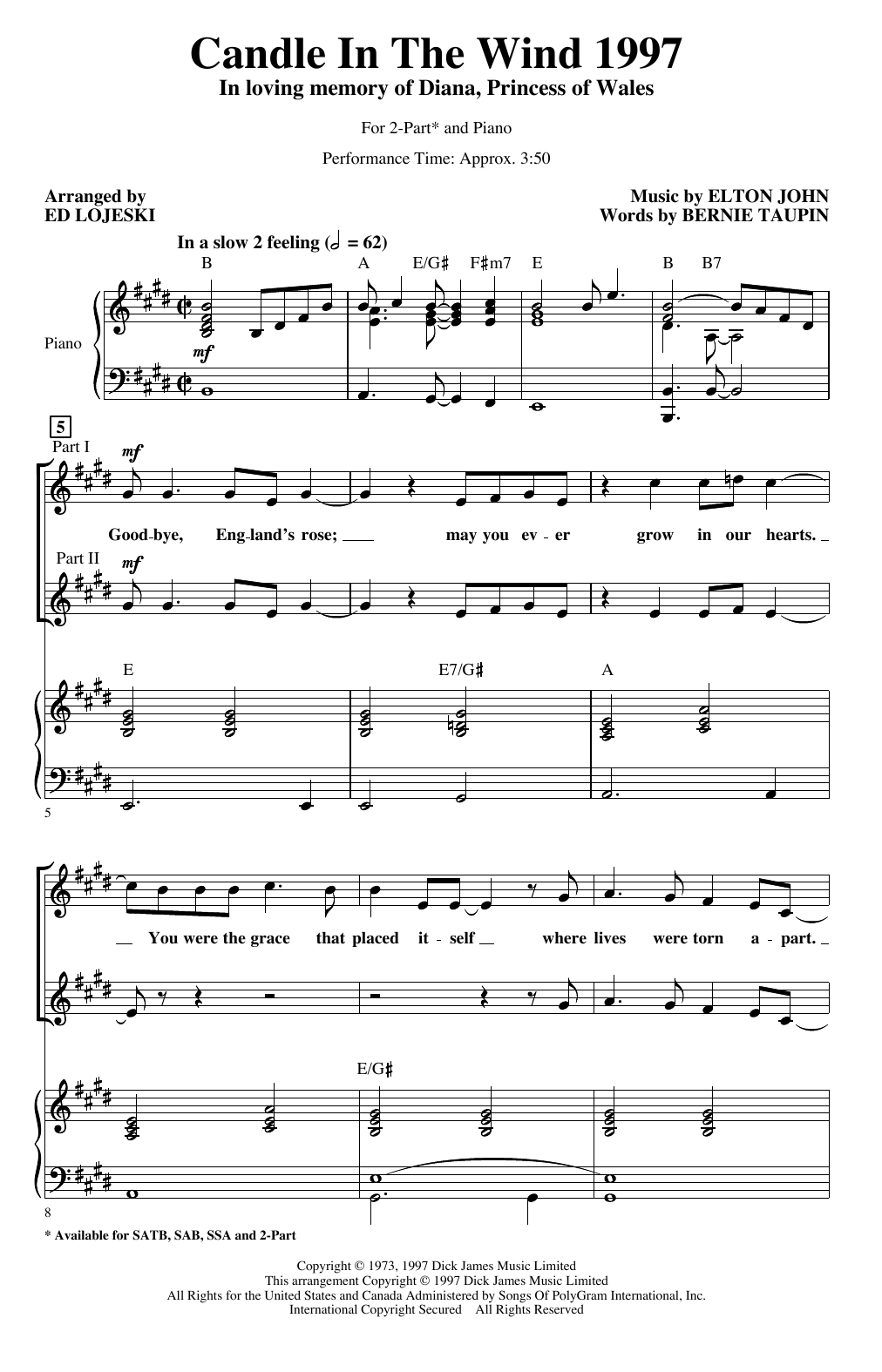 Candle In The Wind (arr. Ed Lojeski) (2-Part Choir)