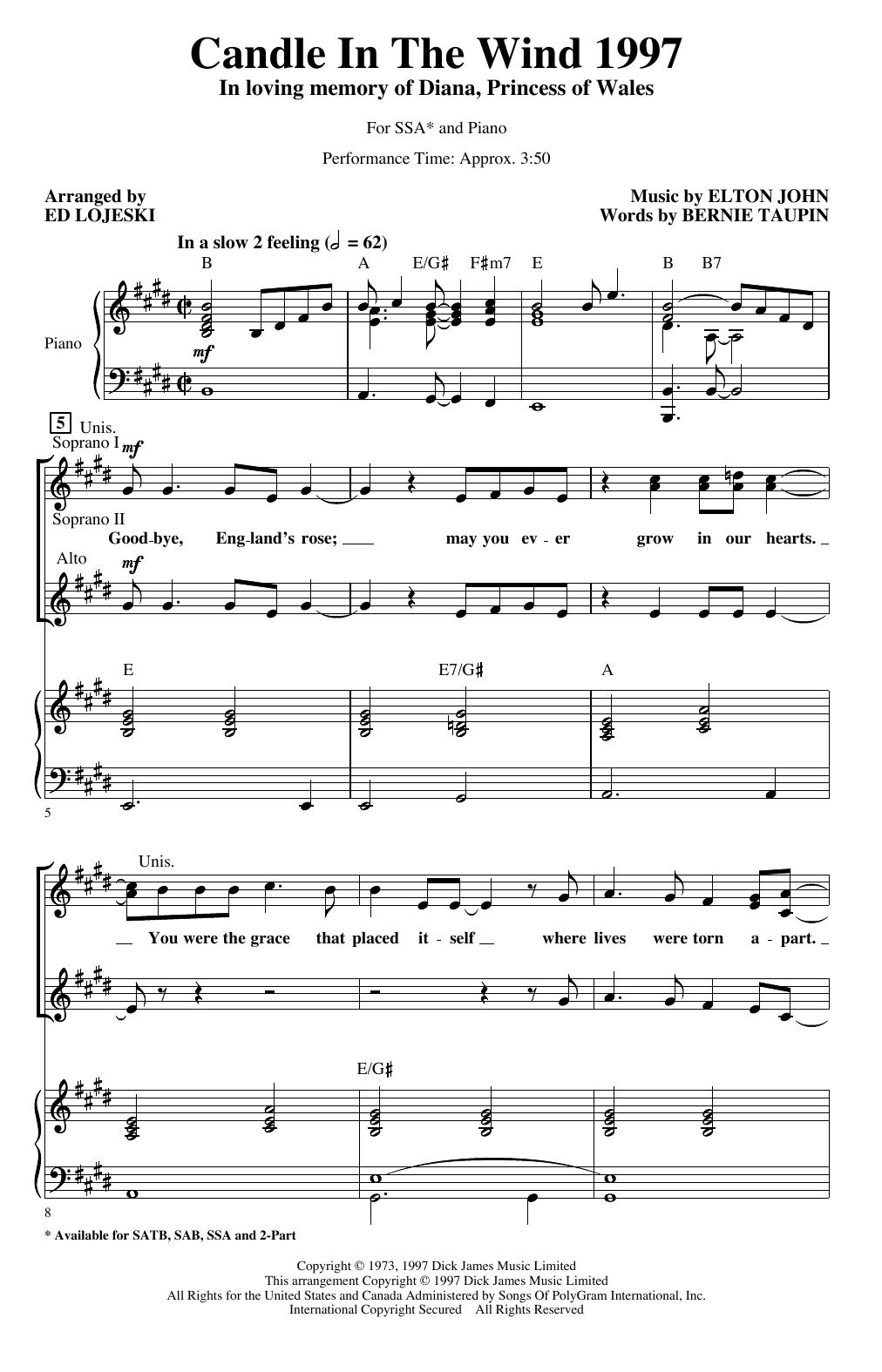 Candle In The Wind (arr. Ed Lojeski) (SSA Choir)