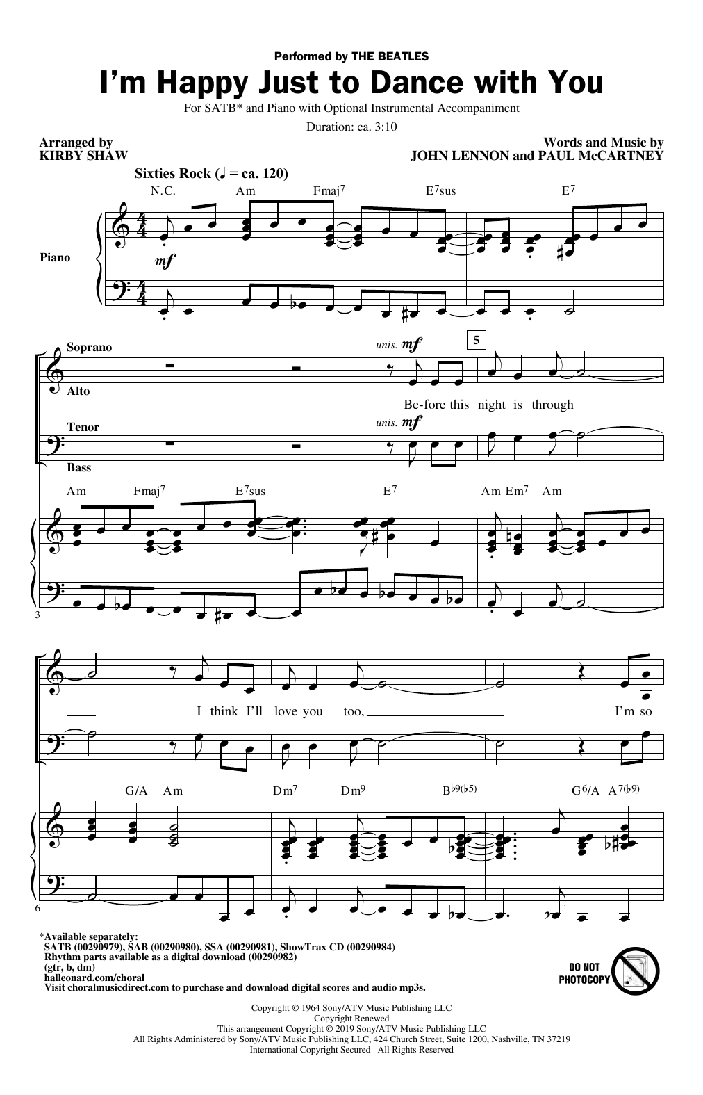 I'm Happy Just To Dance With You (arr. Kirby Shaw) (SATB Choir)