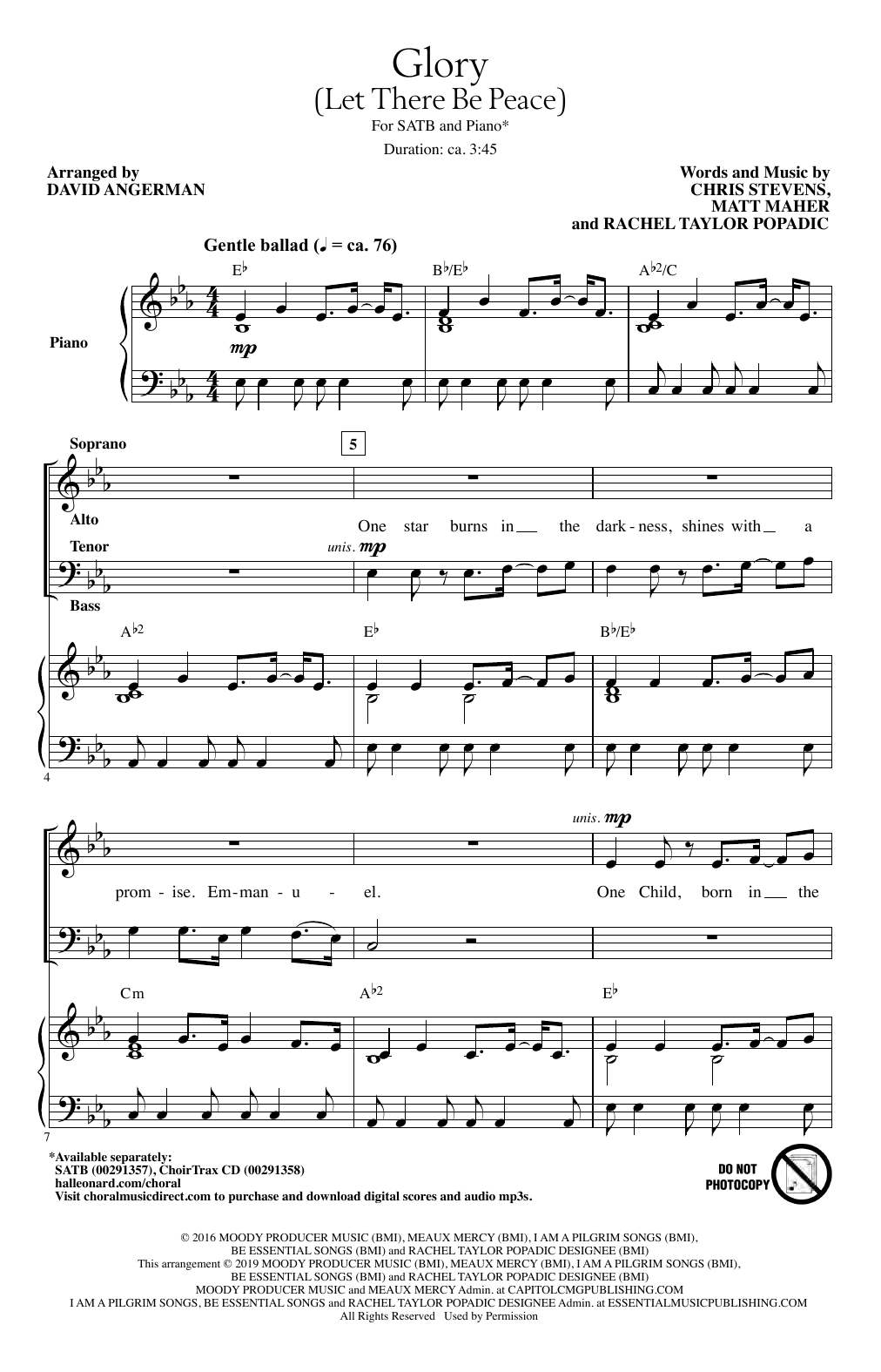 Glory (Let There Be Peace) (arr. David Angerman) (SATB Choir)