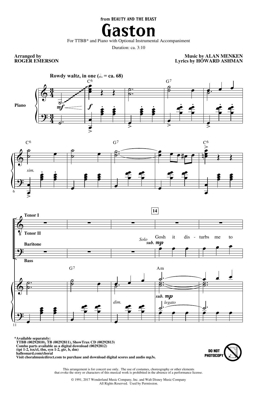 Gaston (from Beauty and The Beast) (arr. Roger Emerson) (TTBB Choir)
