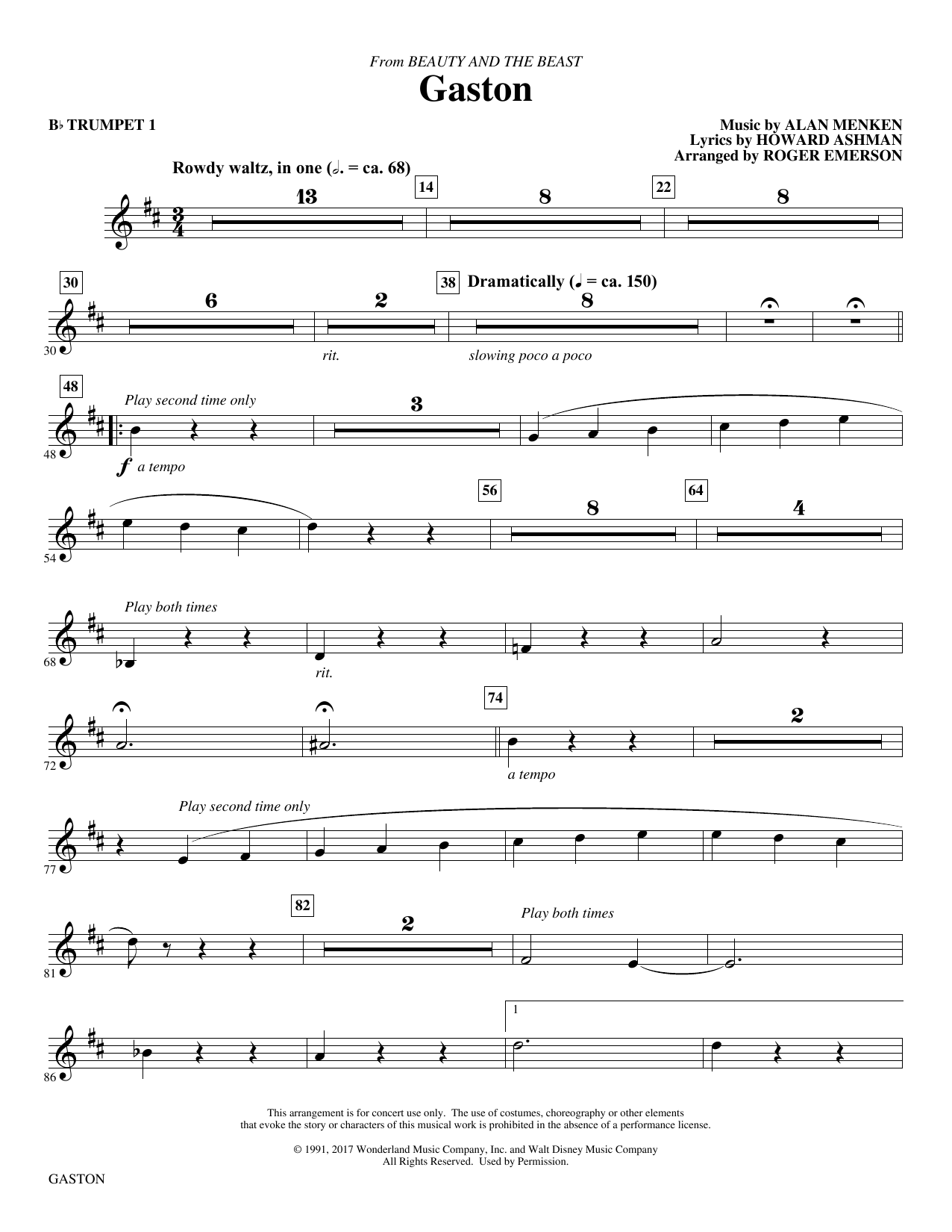 Gaston (from Beauty and The Beast) (arr. Roger Emerson) - Bb Trumpet 1 (Choir Instrumental Pak)