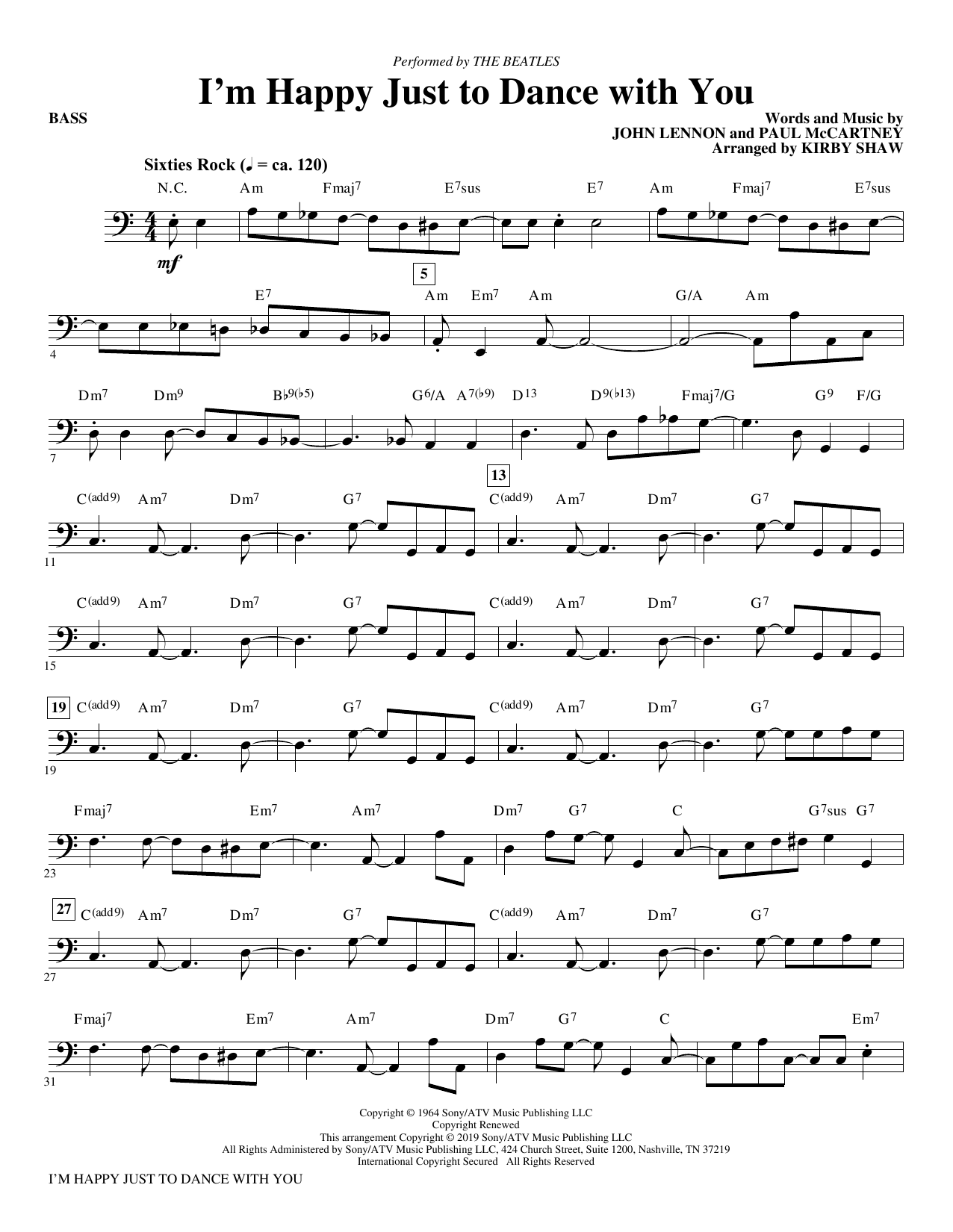 I'm Happy Just to Dance with You (arr. Kirby Shaw) - Bass (Choir Instrumental Pak)