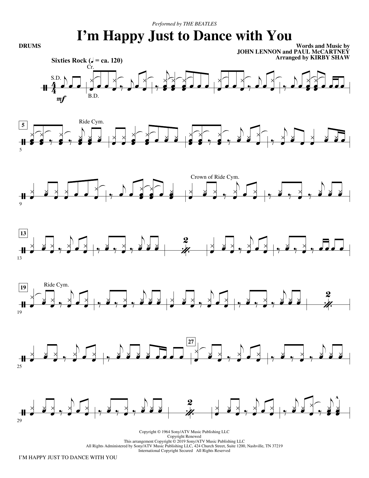 I'm Happy Just to Dance with You (arr. Kirby Shaw) - Drums (Choir Instrumental Pak)