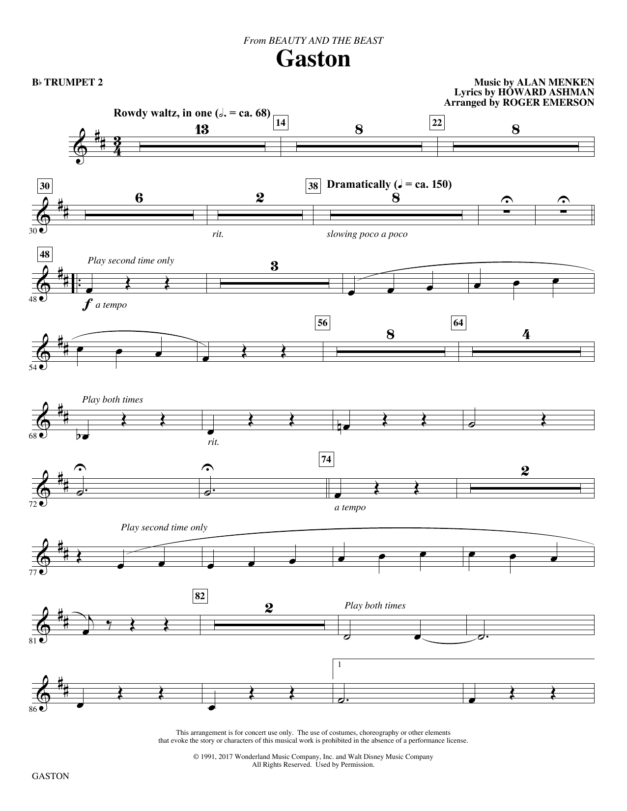 Gaston (from Beauty and The Beast) (arr. Roger Emerson) - Bb Trumpet 2 (Choir Instrumental Pak)