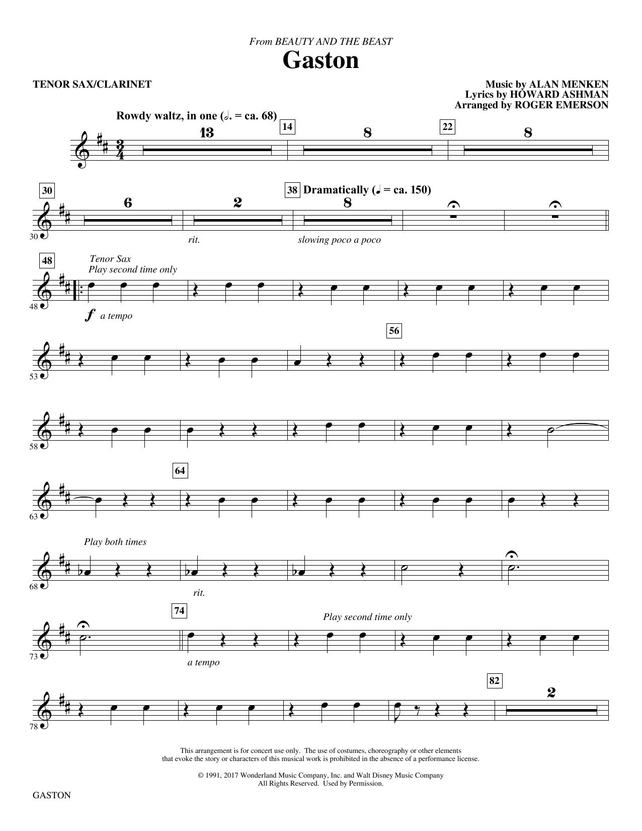 Gaston (from Beauty and The Beast) (arr. Roger Emerson) - Tenor Sax/Clarinet (Choir Instrumental Pak)