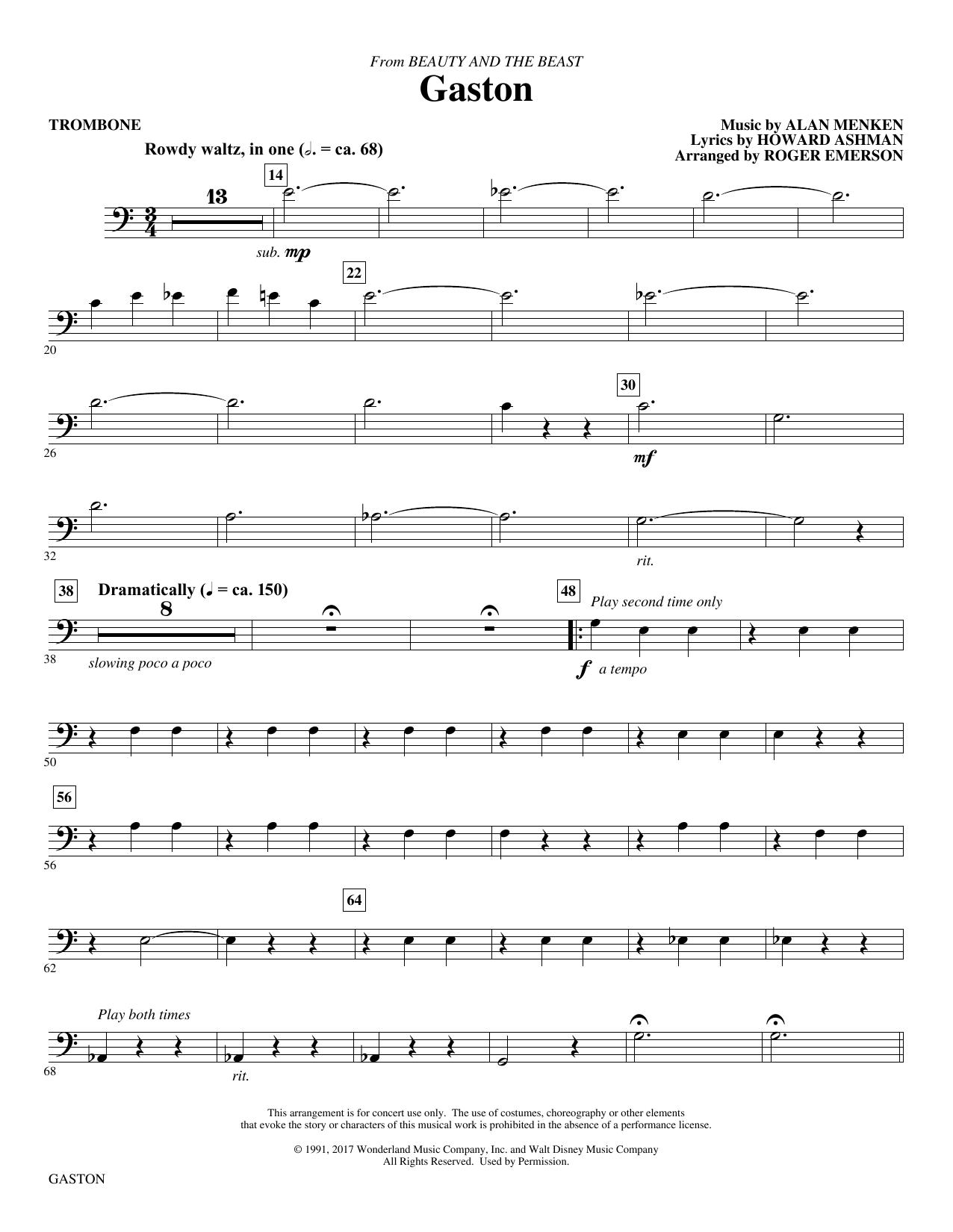 Gaston (from Beauty and The Beast) (arr. Roger Emerson) - Trombone (Choir Instrumental Pak)