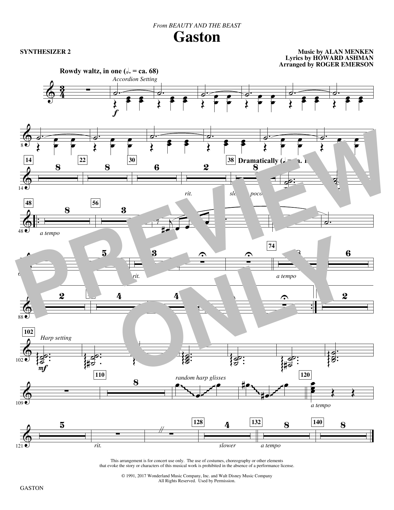 Gaston (from Beauty and The Beast) (arr. Roger Emerson) - Synth 2 (Choir Instrumental Pak)
