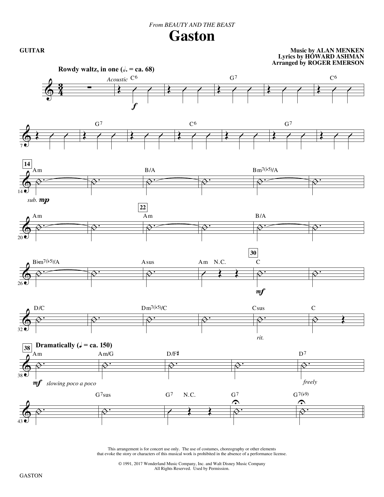 Gaston (from Beauty and The Beast) (arr. Roger Emerson) - Guitar (Choir Instrumental Pak)