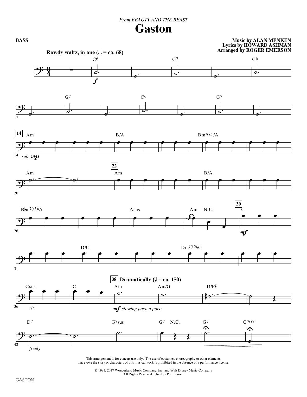 Gaston (from Beauty and The Beast) (arr. Roger Emerson) - Bass (Choir Instrumental Pak)