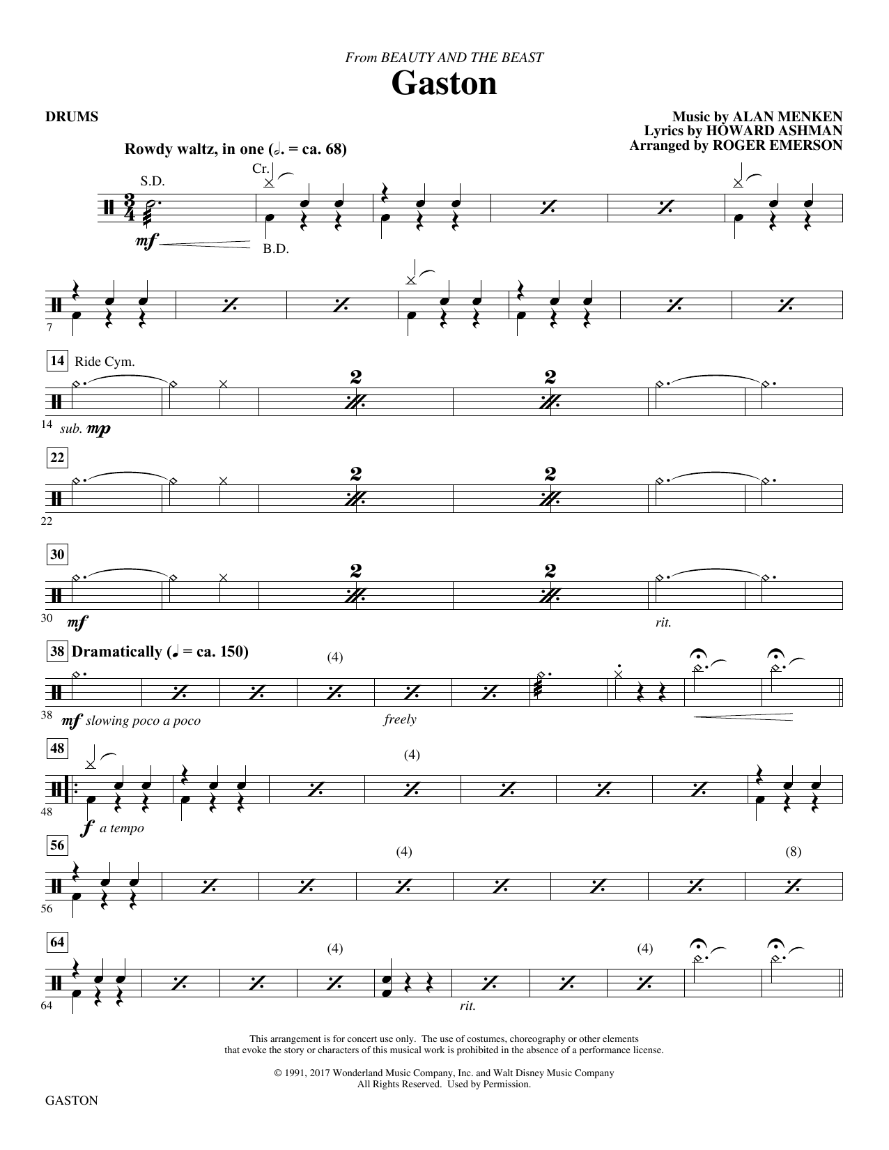 Gaston (from Beauty and The Beast) (arr. Roger Emerson) - Drums (Choir Instrumental Pak)
