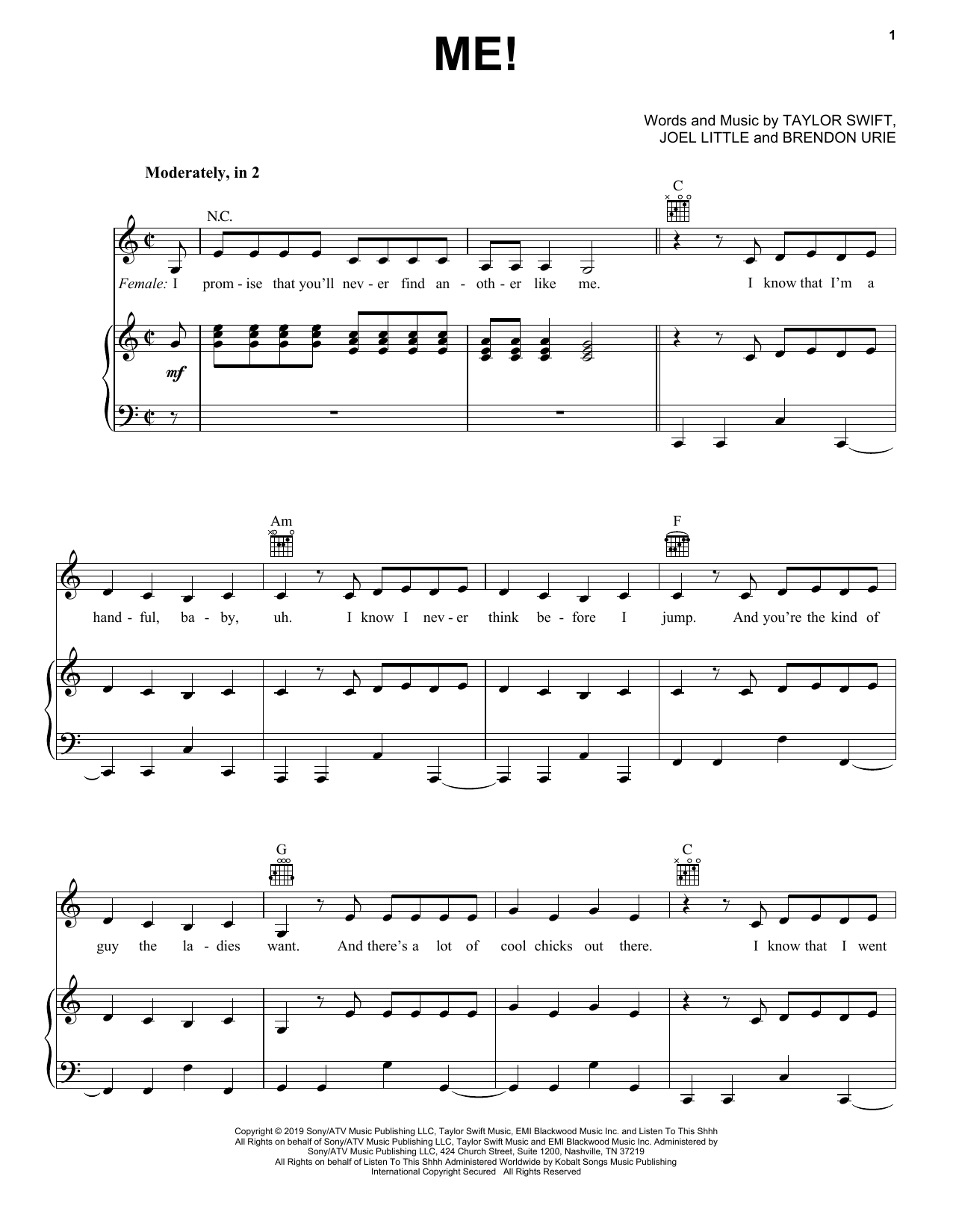ME! (feat. Brendon Urie of Panic! At The Disco) (Piano, Vocal & Guitar (Right-Hand Melody))
