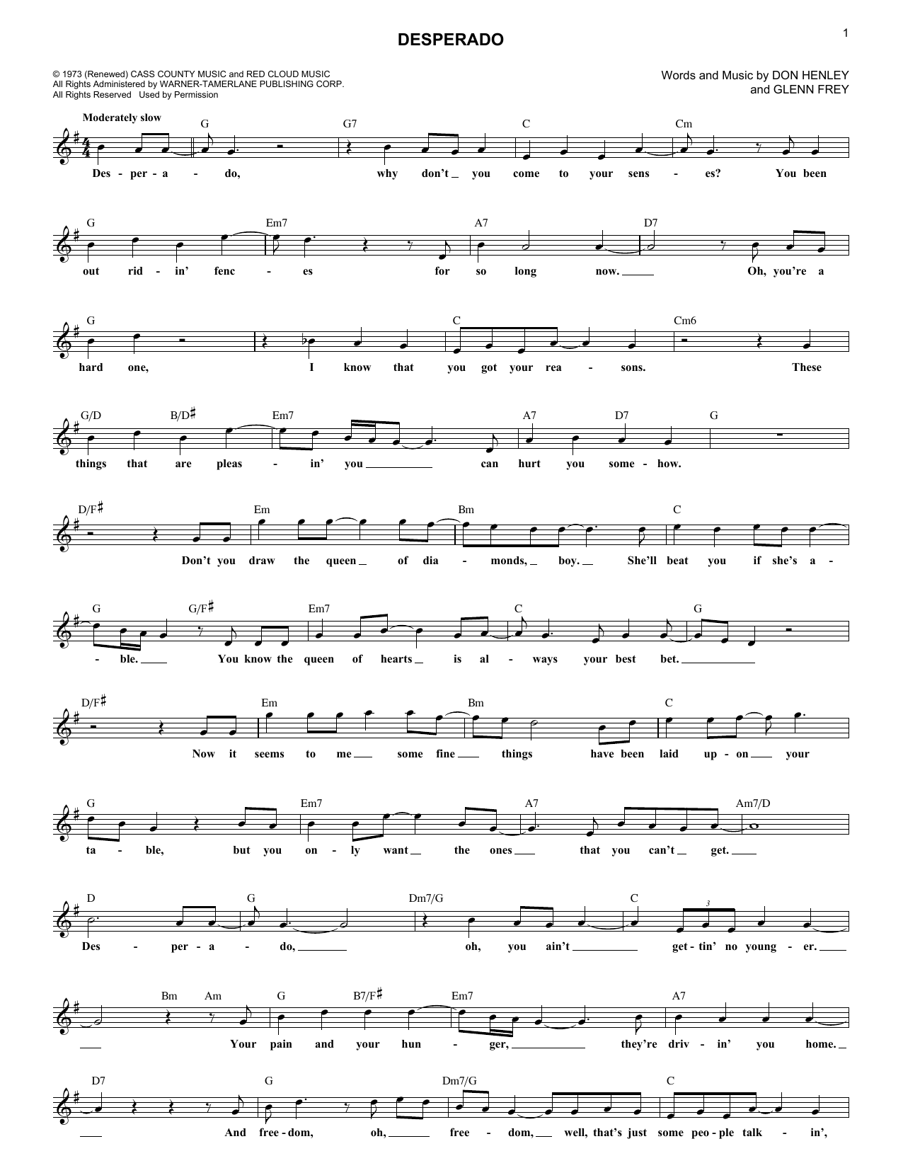 Desperado (Lead Sheet / Fake Book)