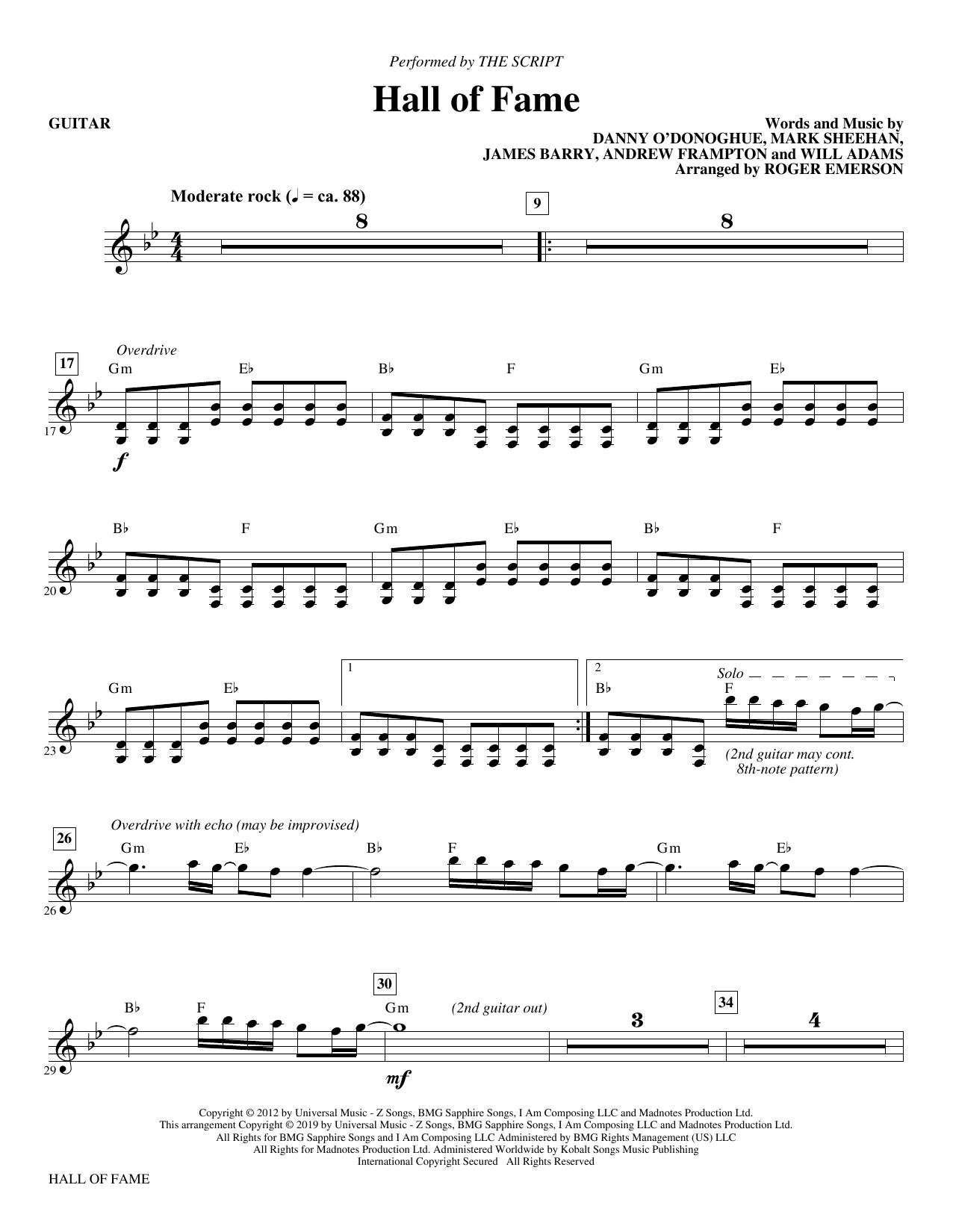 Hall of Fame (feat. Will.I.Am) (arr. Roger Emerson) - Guitar (Choir Instrumental Pak)