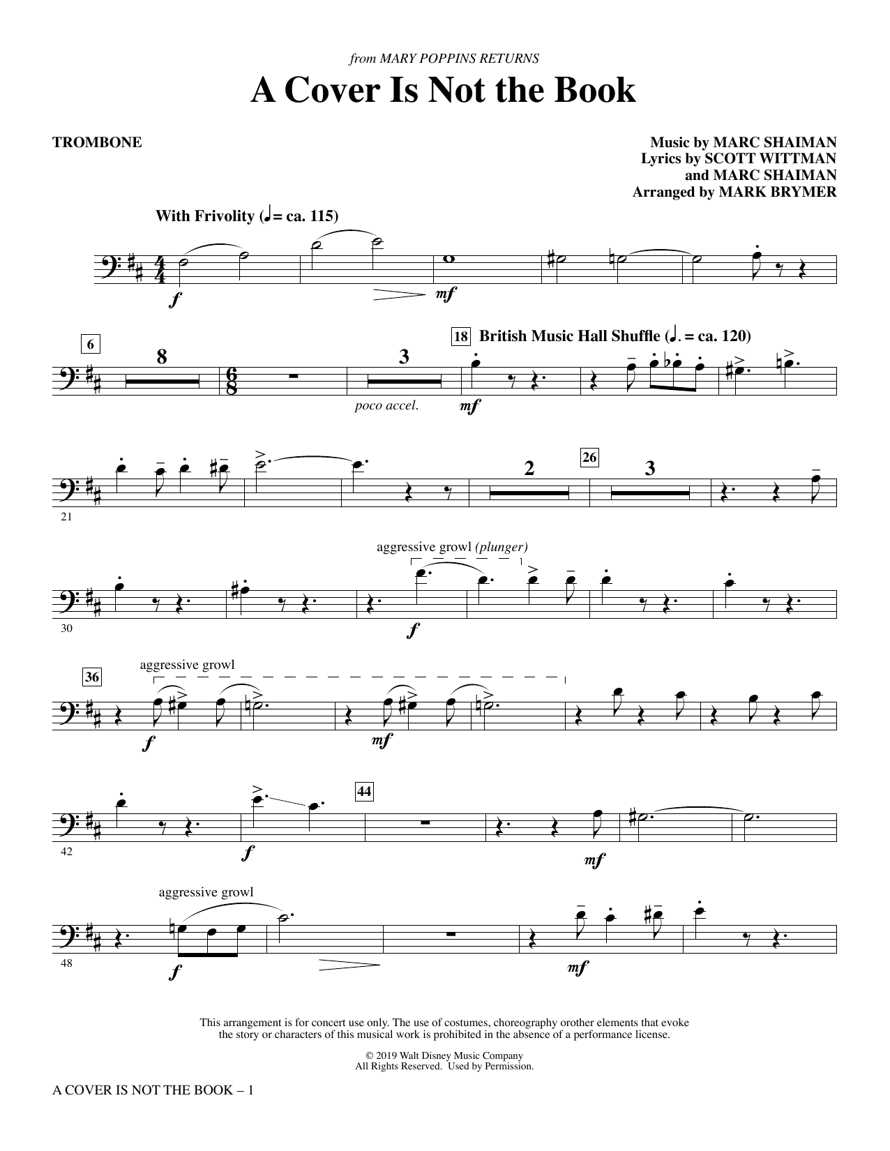 A Cover Is Not the Book (from Mary Poppins Returns) (arr. Mark Brymer) - Trombone (Choir Instrumental Pak)