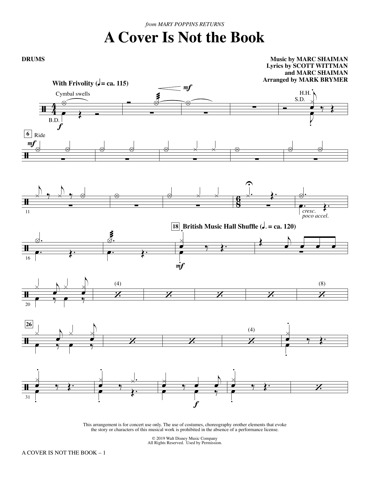 A Cover Is Not the Book (from Mary Poppins Returns) (arr. Mark Brymer) - Drums (Choir Instrumental Pak)