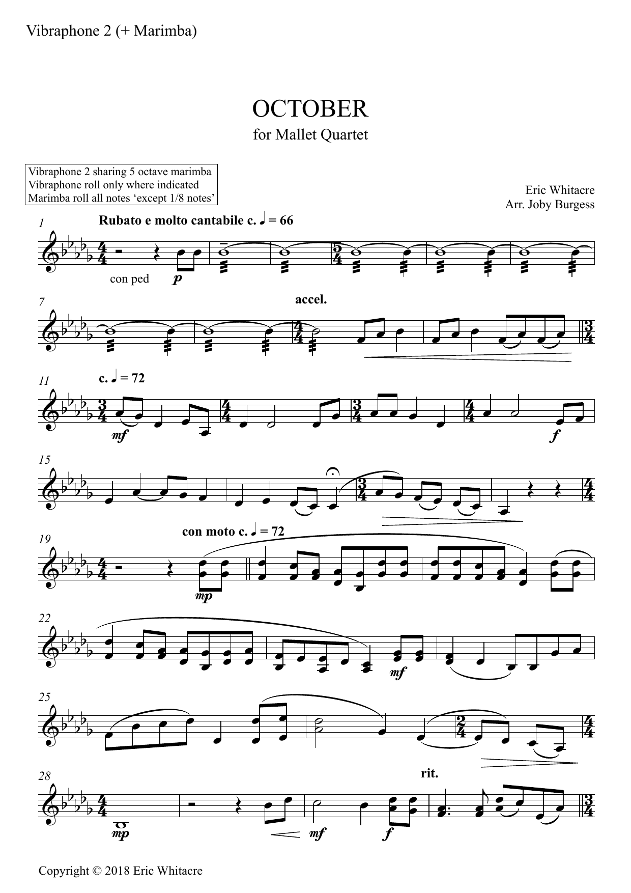 October (Alleluia) for Mallet Quartet (arr. Joby Burgess) - VIBRAPHONE 2 SHARE MARIMBA 2 Sheet Music