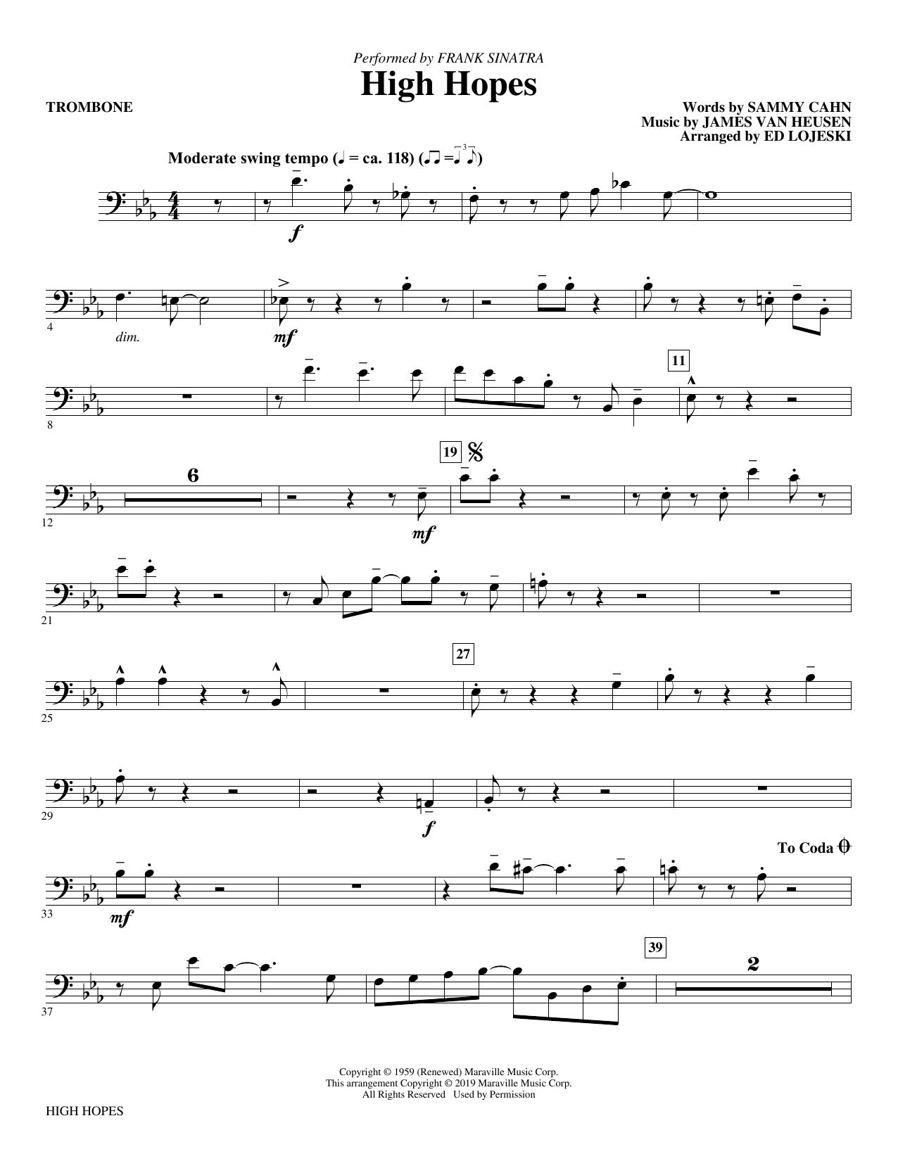 High Hopes (arr. Ed Lojeski) - Trombone (Choir Instrumental Pak)