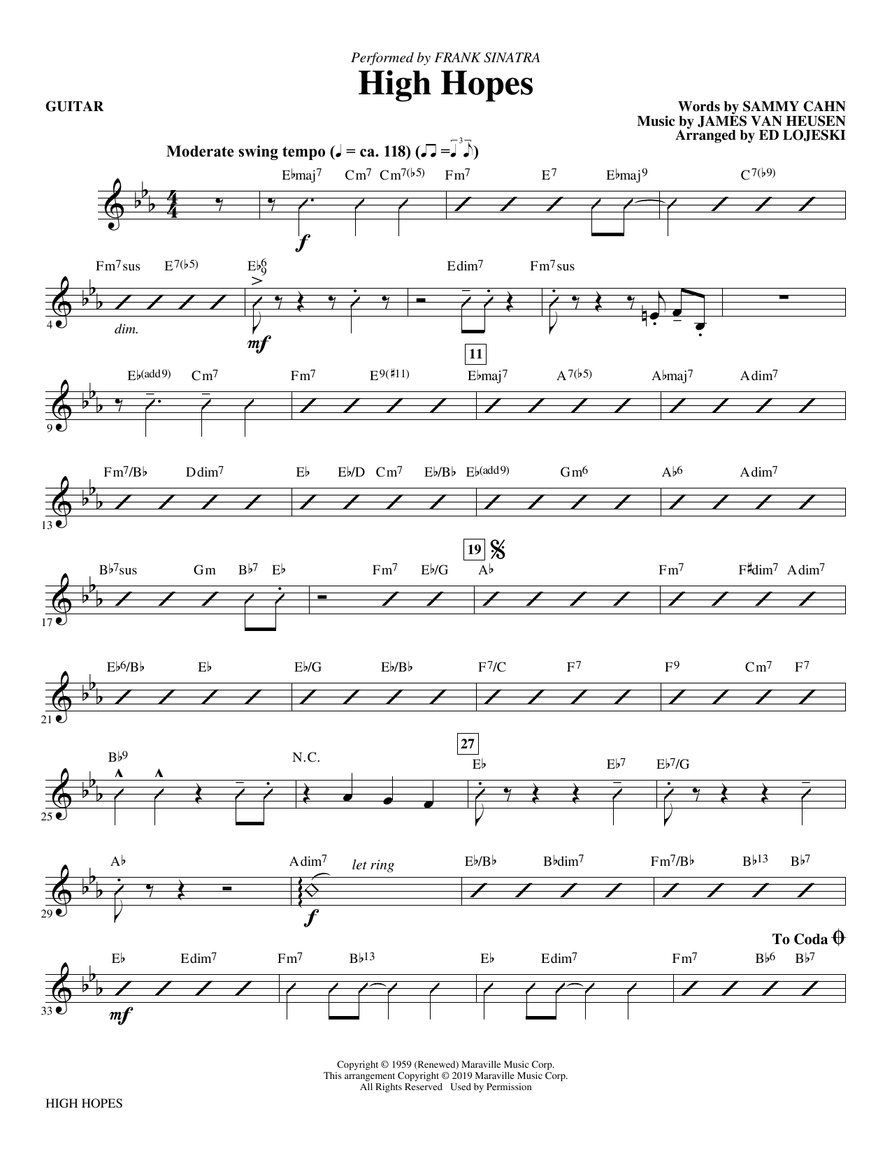High Hopes (arr. Ed Lojeski) - Guitar (Choir Instrumental Pak)
