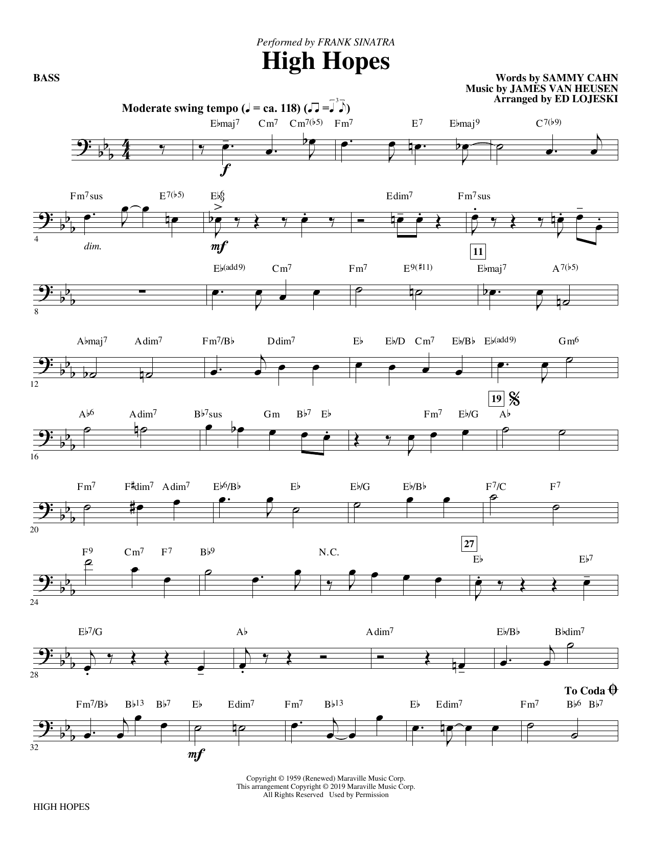 High Hopes (arr. Ed Lojeski) - Bass (Choir Instrumental Pak)