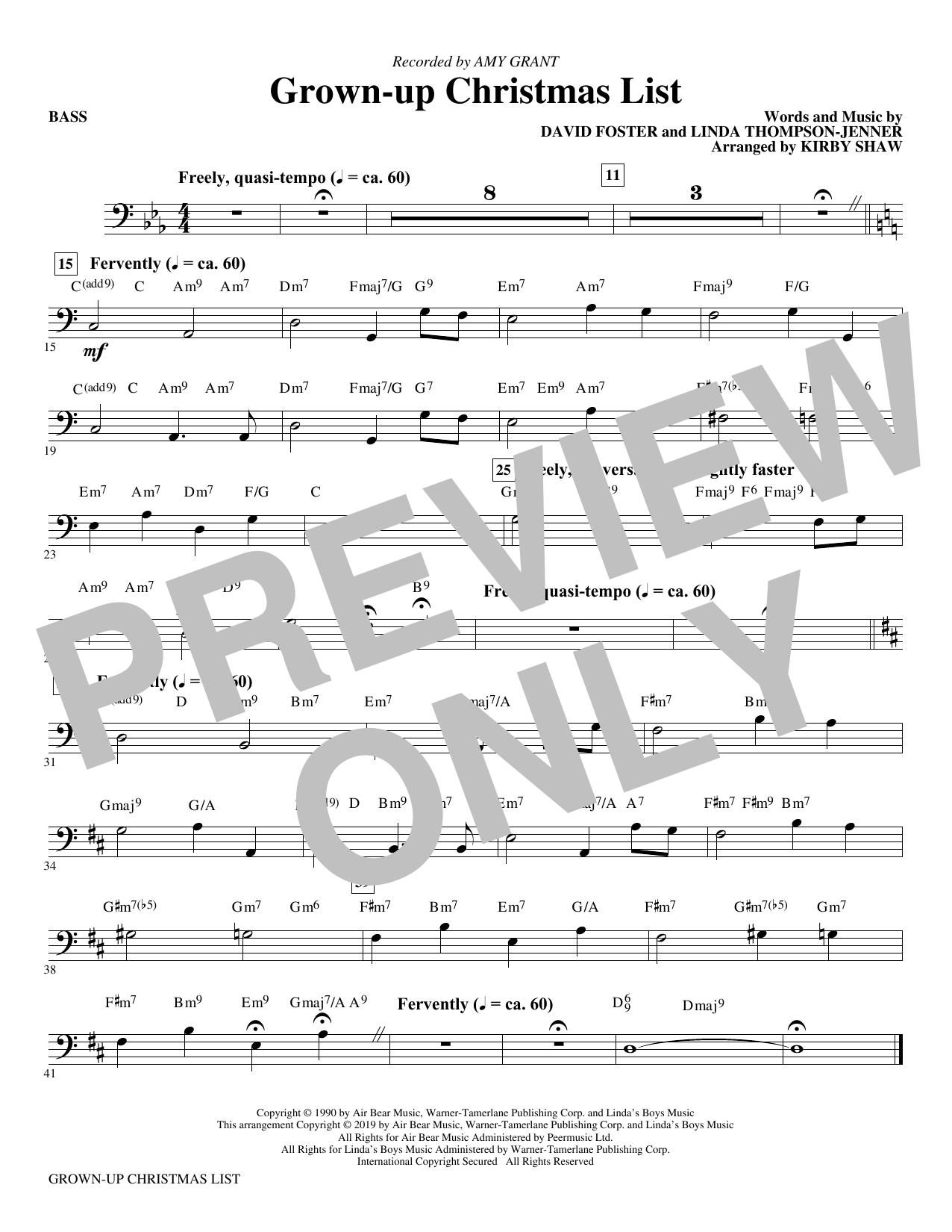 Grown-Up Christmas List (arr. Kirby Shaw) - Bass (Choir Instrumental Pak)