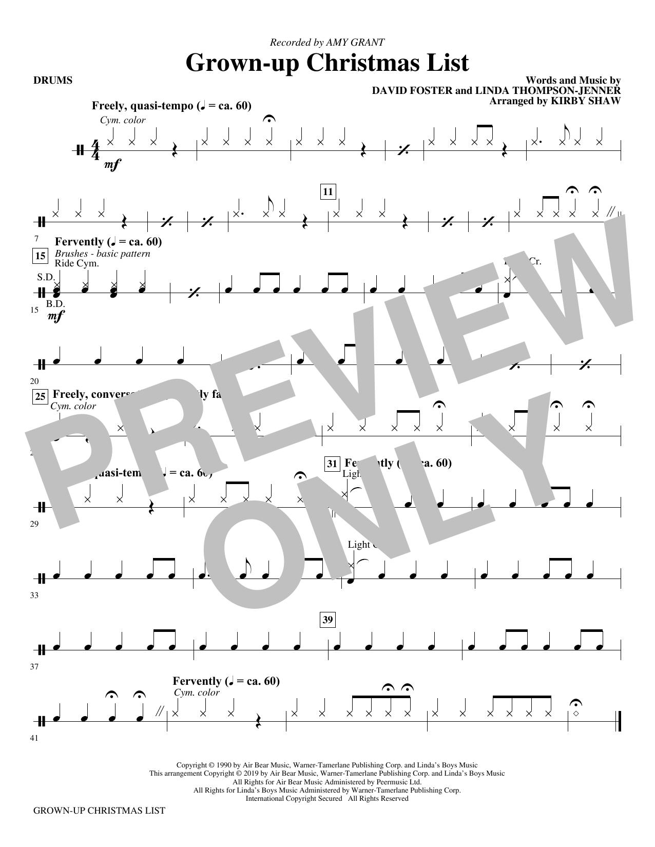 Grown-Up Christmas List (arr. Kirby Shaw) - Drums (Choir Instrumental Pak)