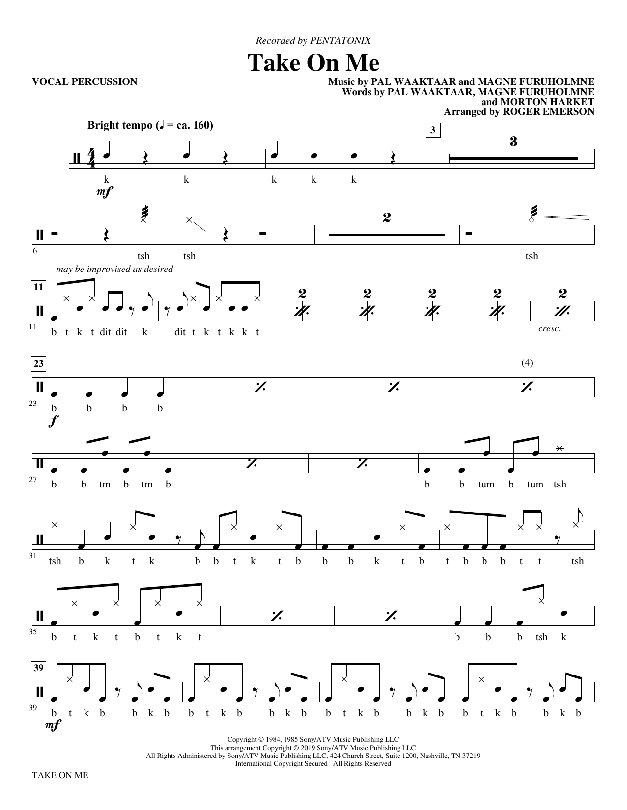 Take on Me (arr. Roger Emerson) - Vocal Percussion Sheet Music