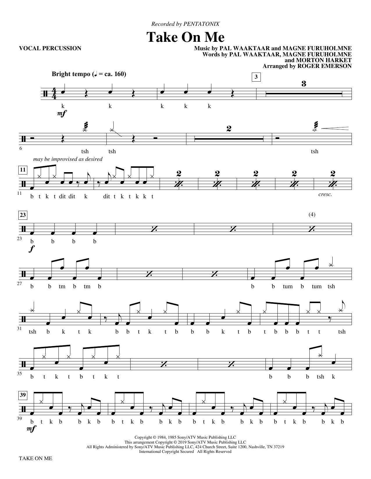 Take on Me (arr. Roger Emerson) - Vocal Percussion (Choir Instrumental Pak)