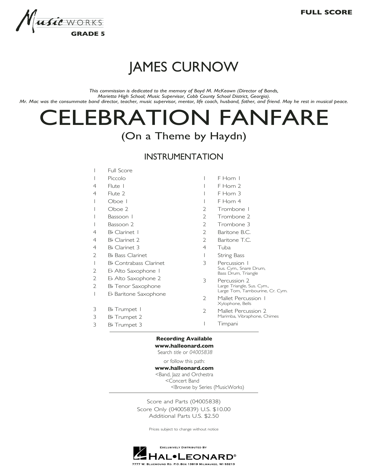 Celebration Fanfare (On a Theme by Haydn) - Conductor Score (Full Score) (Concert Band)